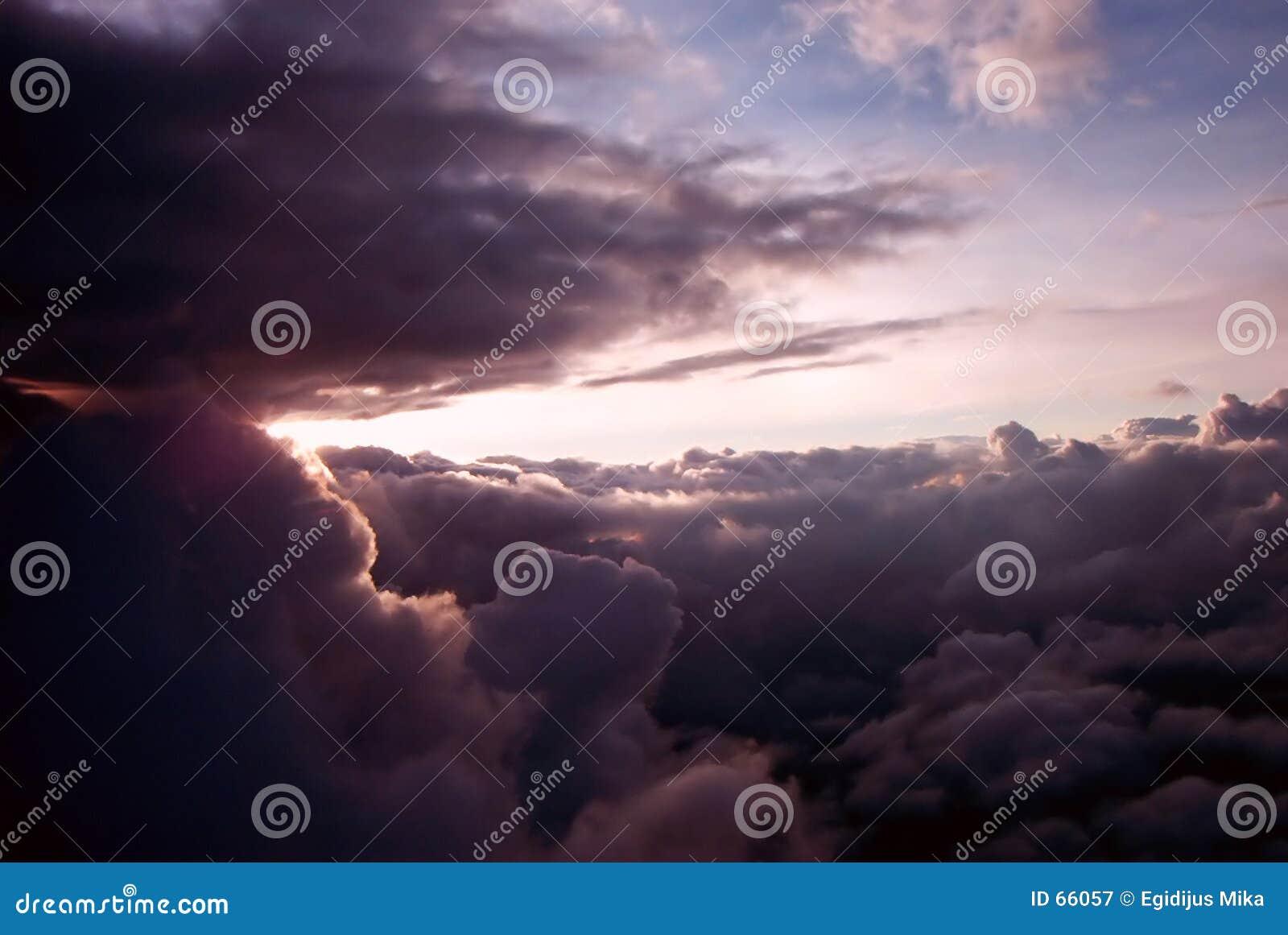заход солнца самолета