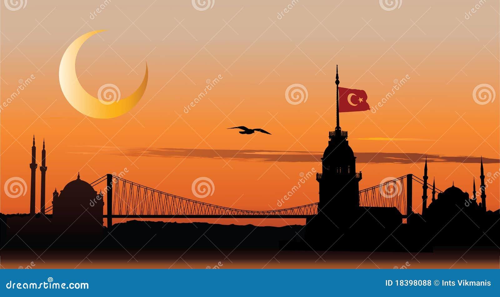 заход солнца силуэта istanbul