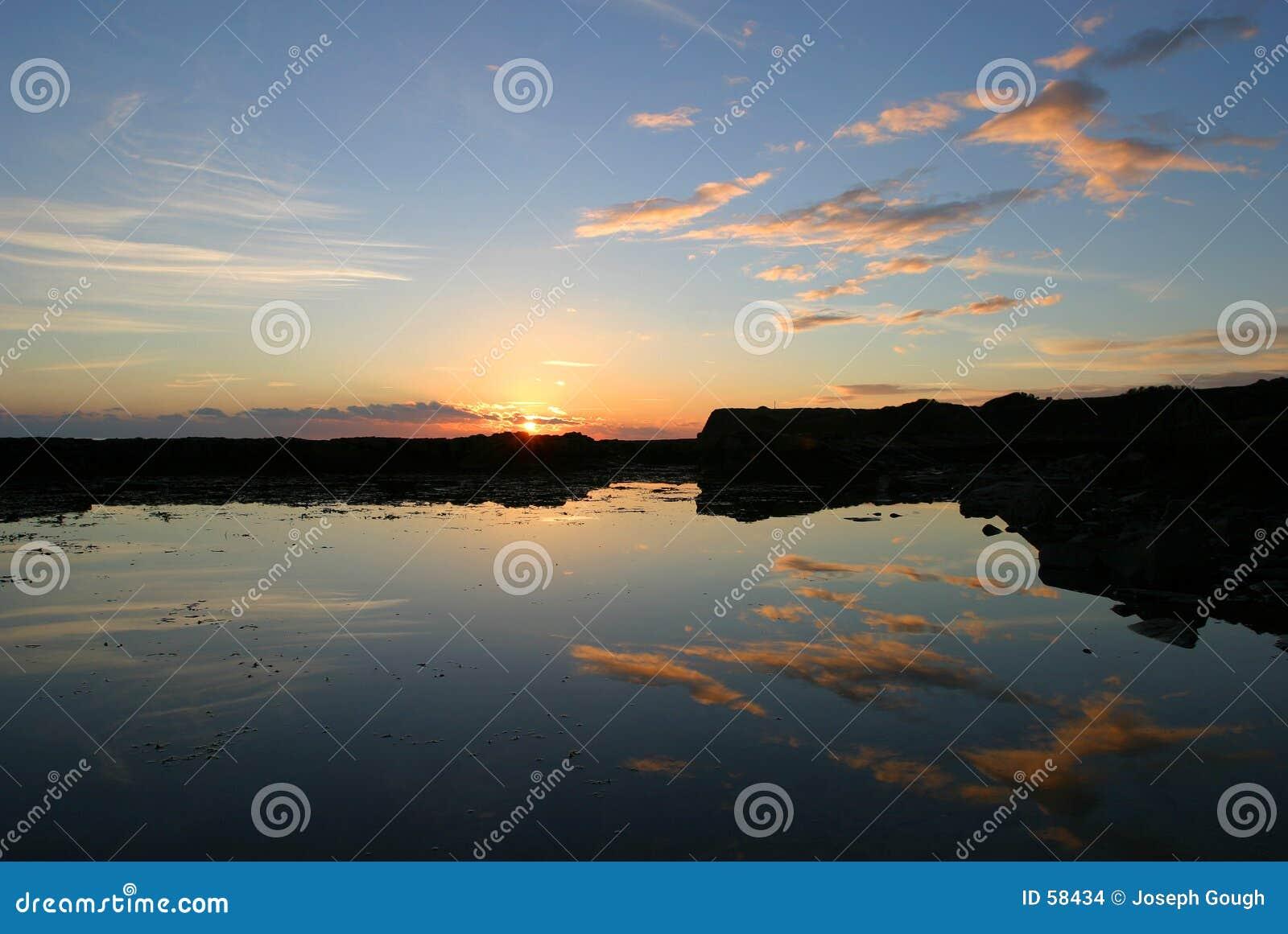 заход солнца kimmeridge dorset залива