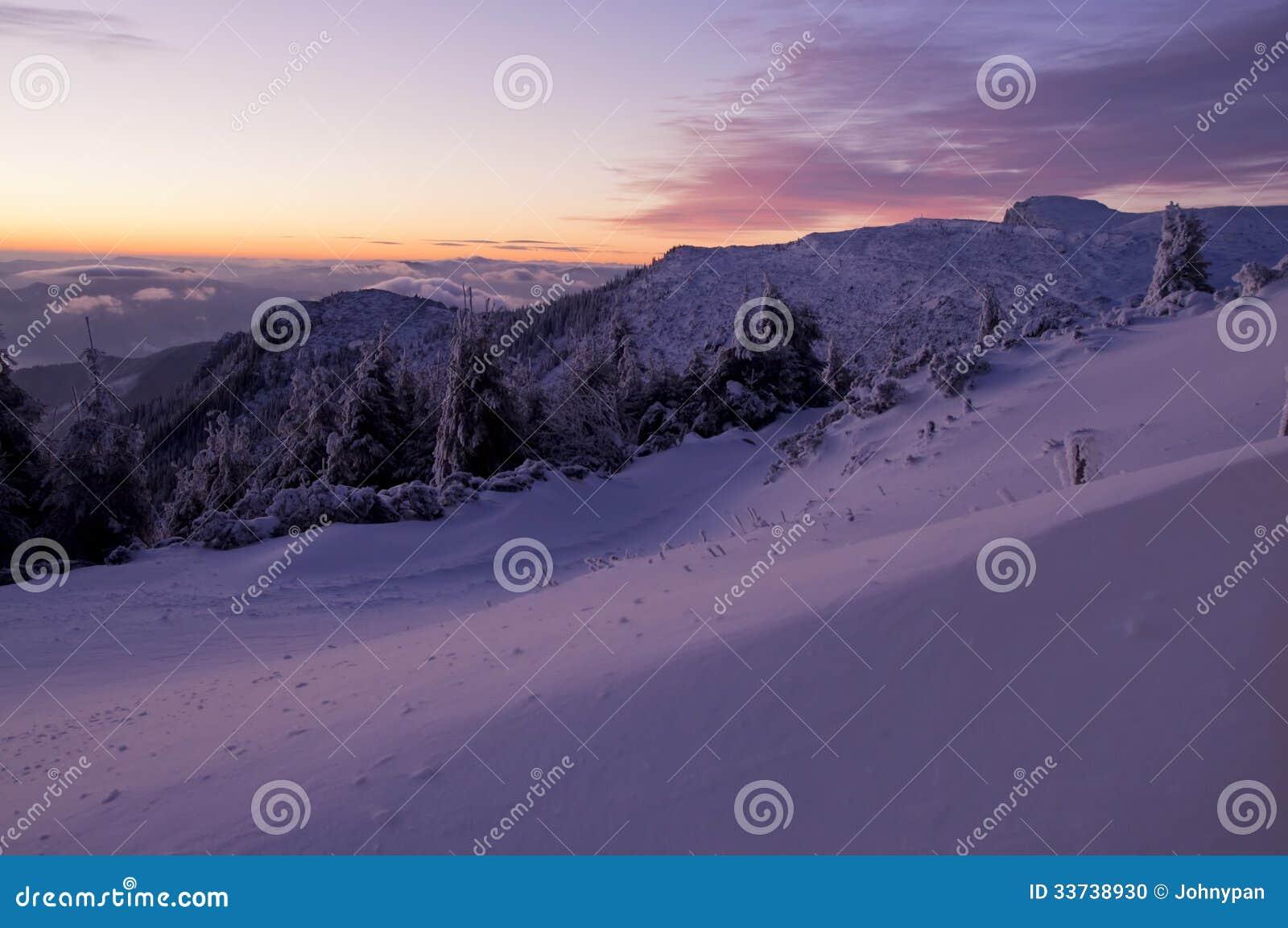 Заход солнца зимы