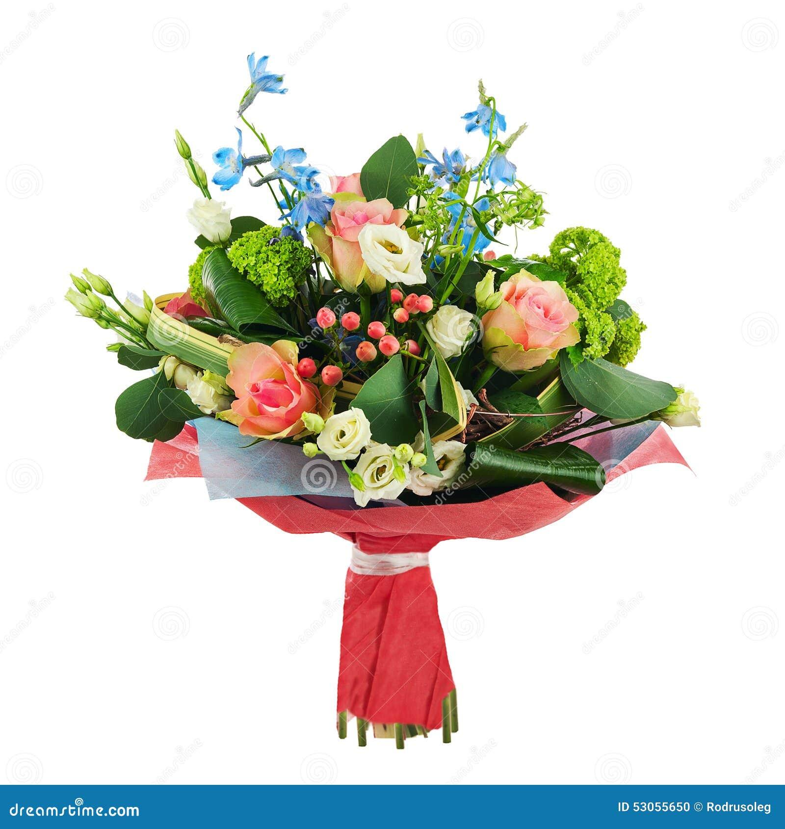 Зацветите букет от multi покрашенных роз, радужки и других цветков