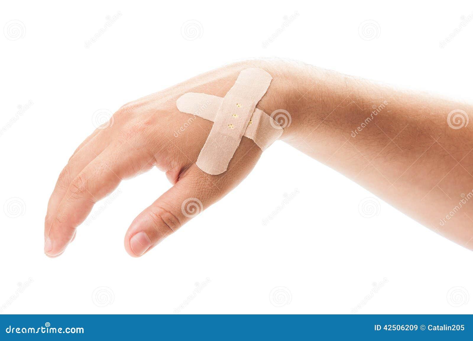 Залатанная рука на белой предпосылке