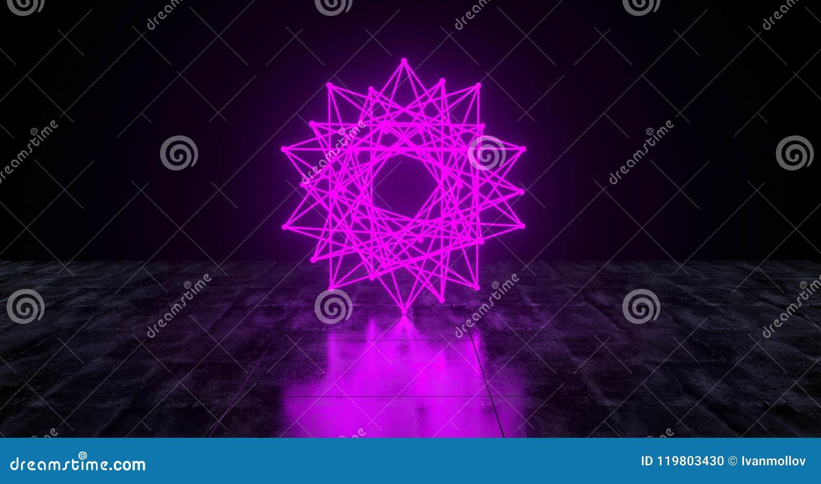 Звезда геометрической футуристической научной фантастики неоновая примитивная дробит свет на участки краев