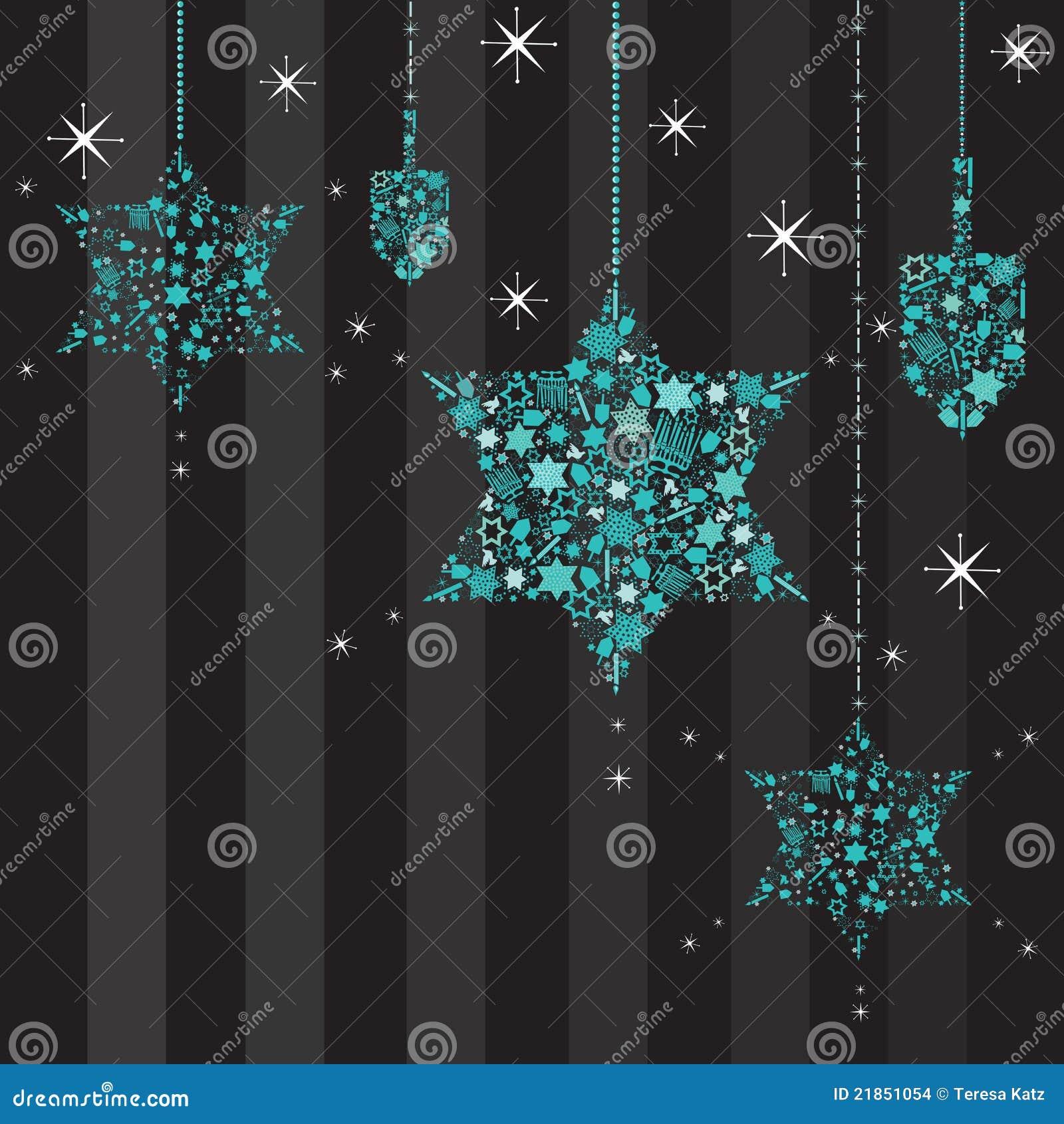 Звезды мерцания и карточка Dreidels Hanukkah