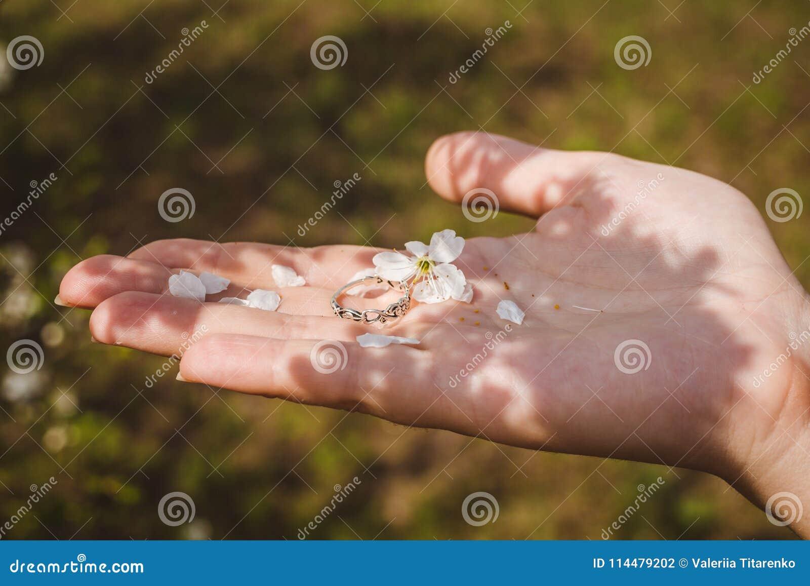 Звените с лепестками цветка на руке ` s женщины Влюбленность настроения