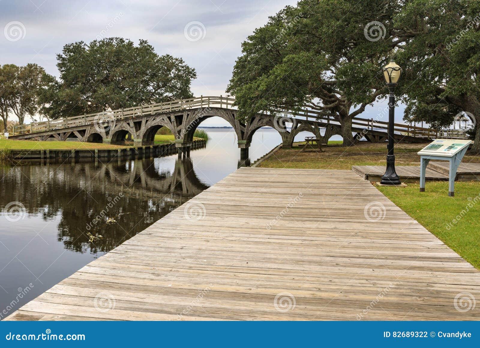 Звук Currituck парка венчика деревянного моста Северной Каролины