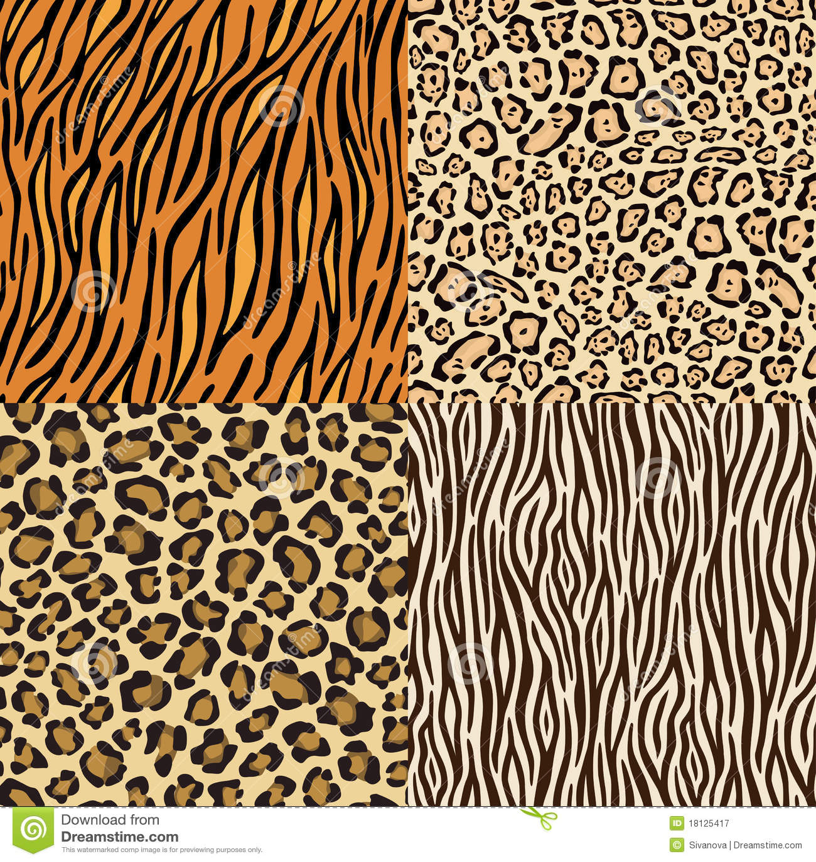 зебра тигра кож леопарда гепарда установленная