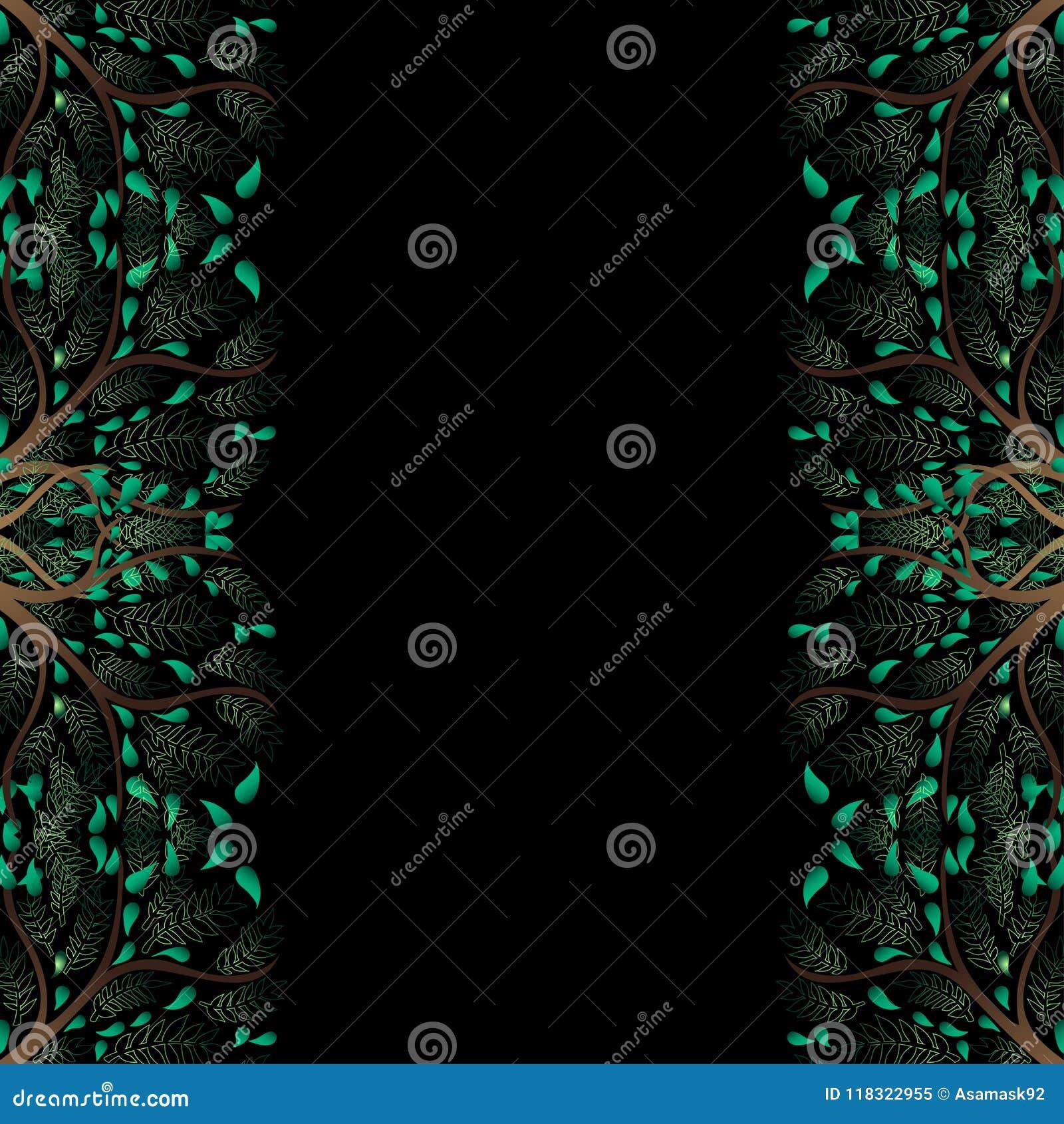 Зеленая граница дерева изолированная на черной предпосылке также вектор иллюстрации притяжки corel