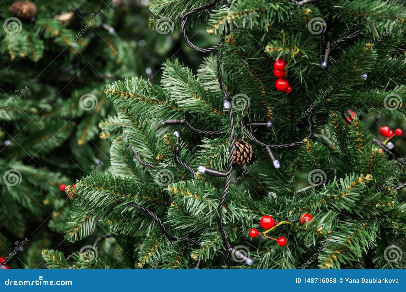 Зеленое дерево украшенное со светами, конусами и красными ягодами