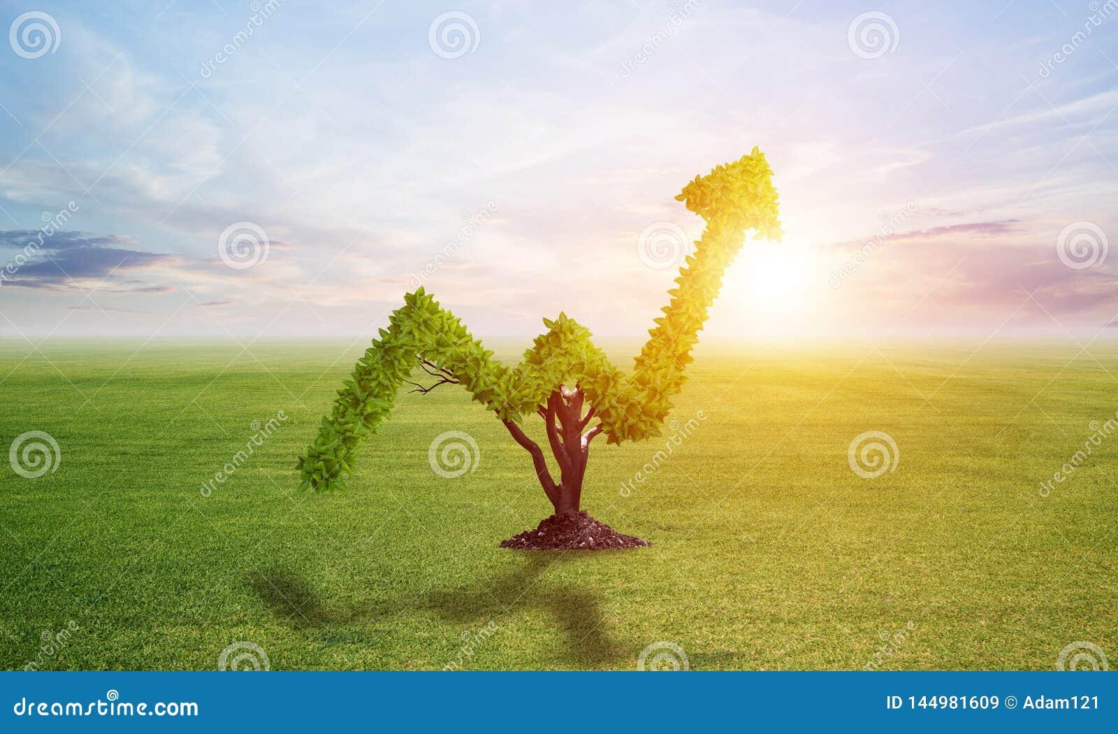 Зеленое растение в форме растет вверх тенденция на поле