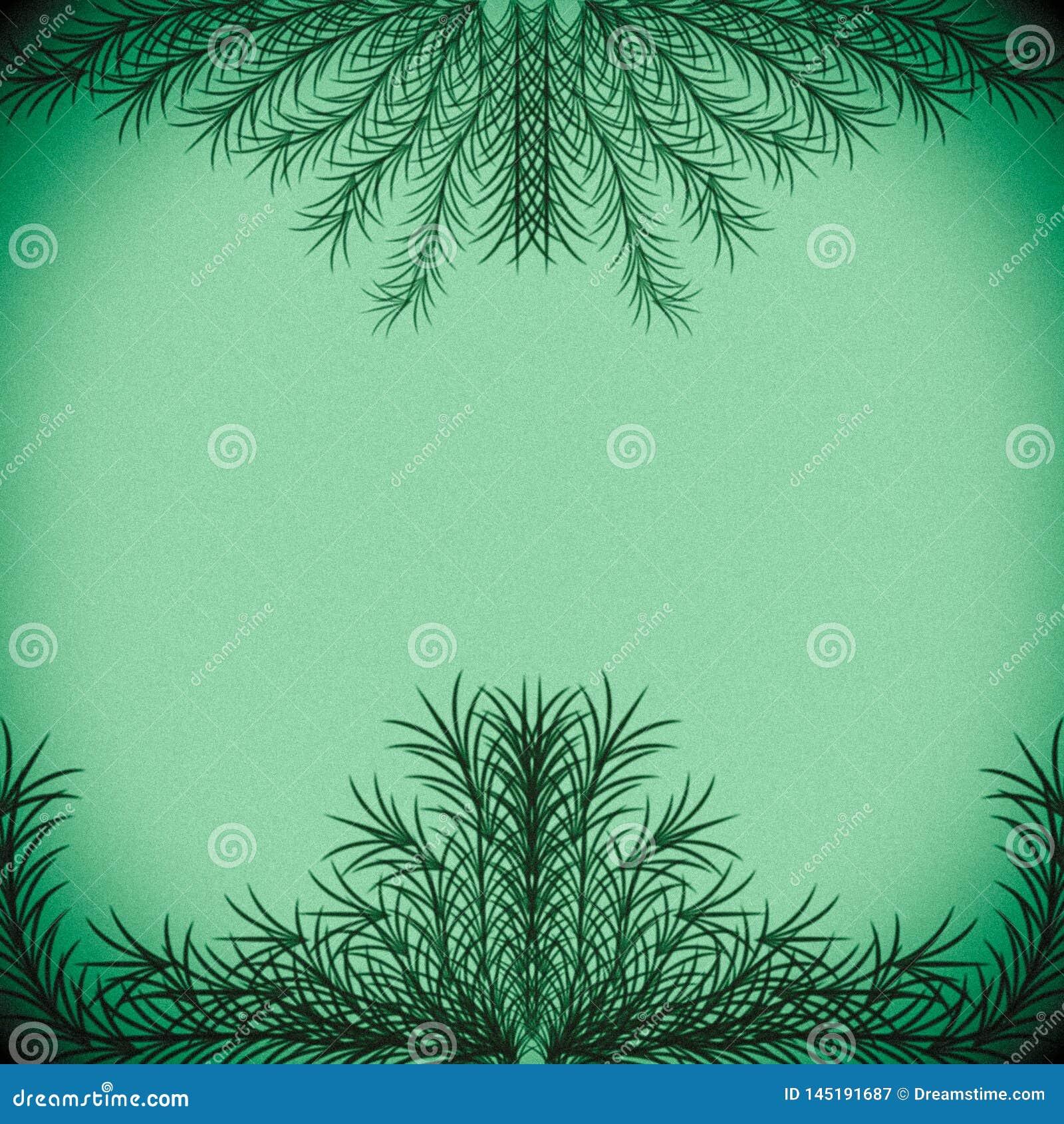 Зеленые ветви формируя рамку на пастельной зеленой предпосылке