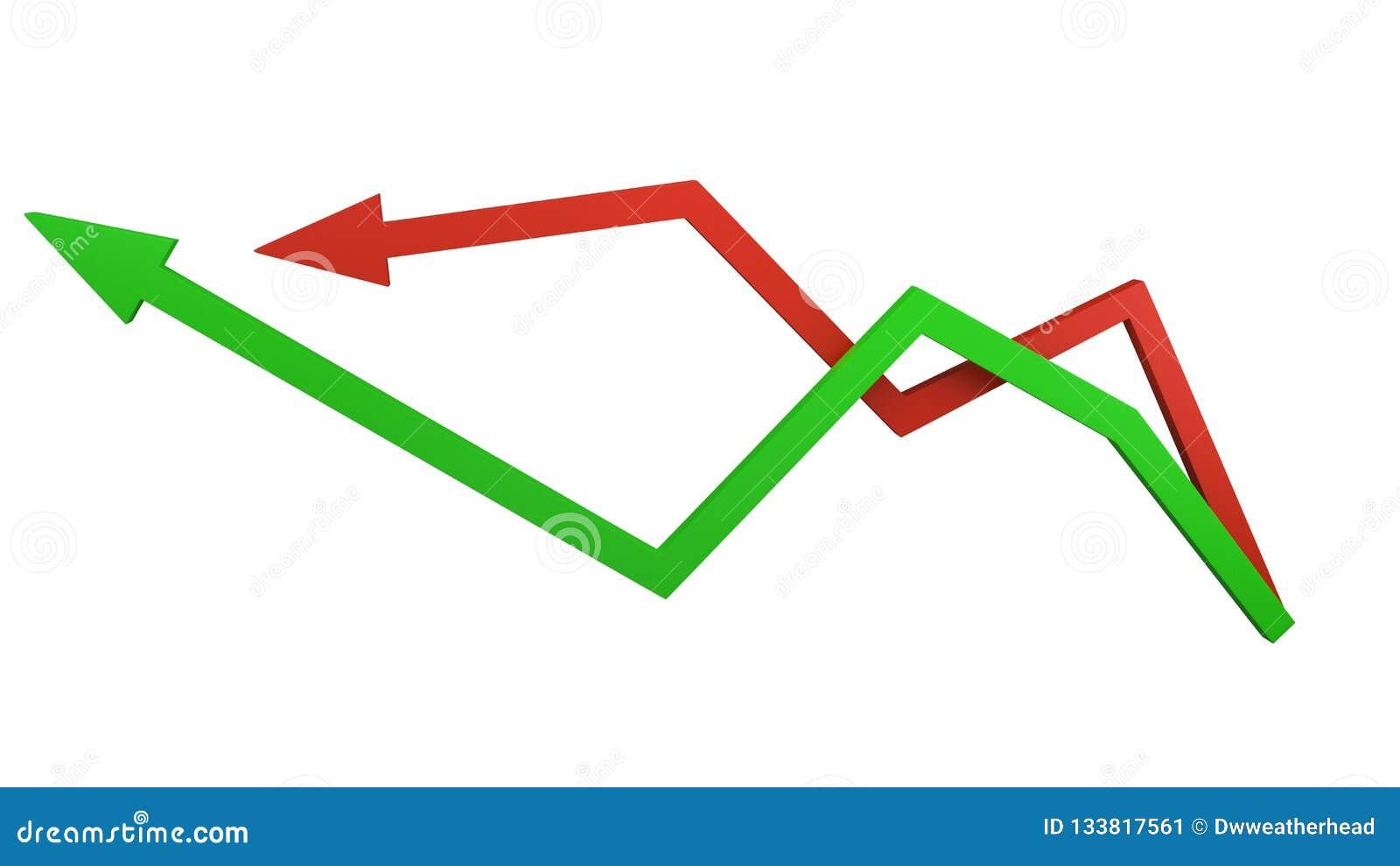 Зеленые и красные стрелки представляя колебания рынка и финансы дела