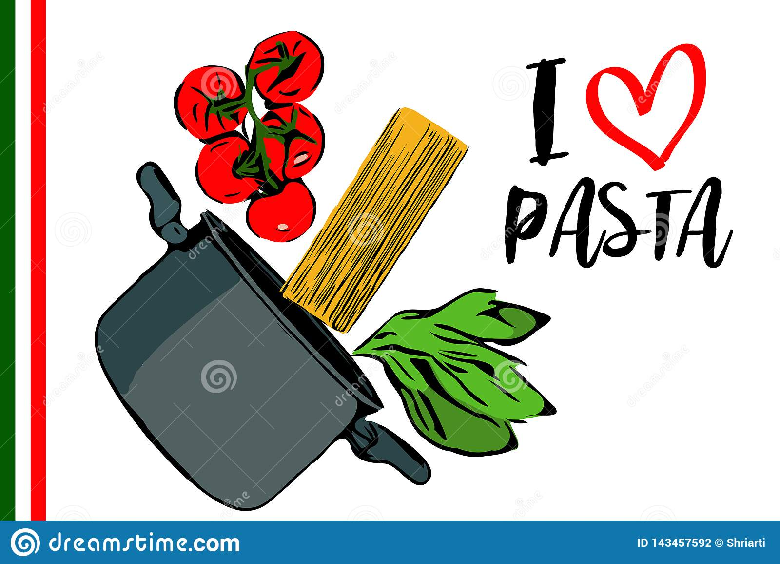 Зеленые травы, завтрак-обед красных томатов вишни и spaghettini идя к баку на белой предпосылке
