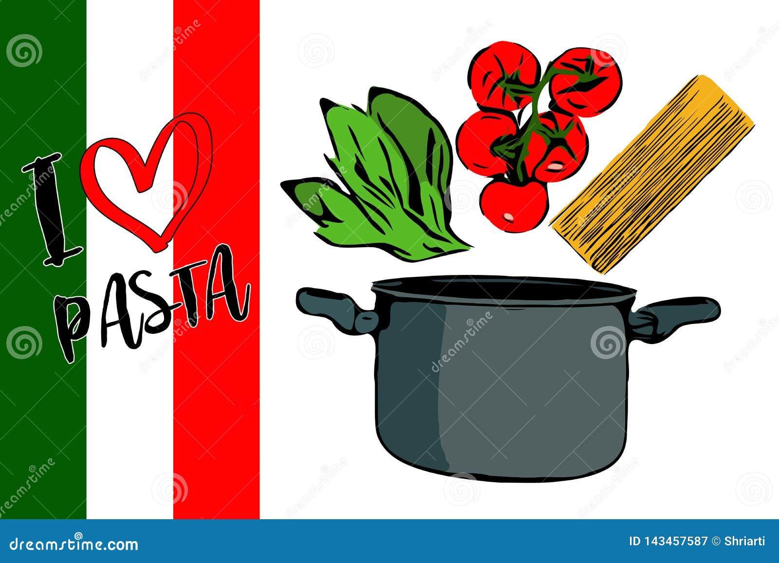 Зеленые травы, завтрак-обед красных томатов вишни и spaghettini идя к серому баку