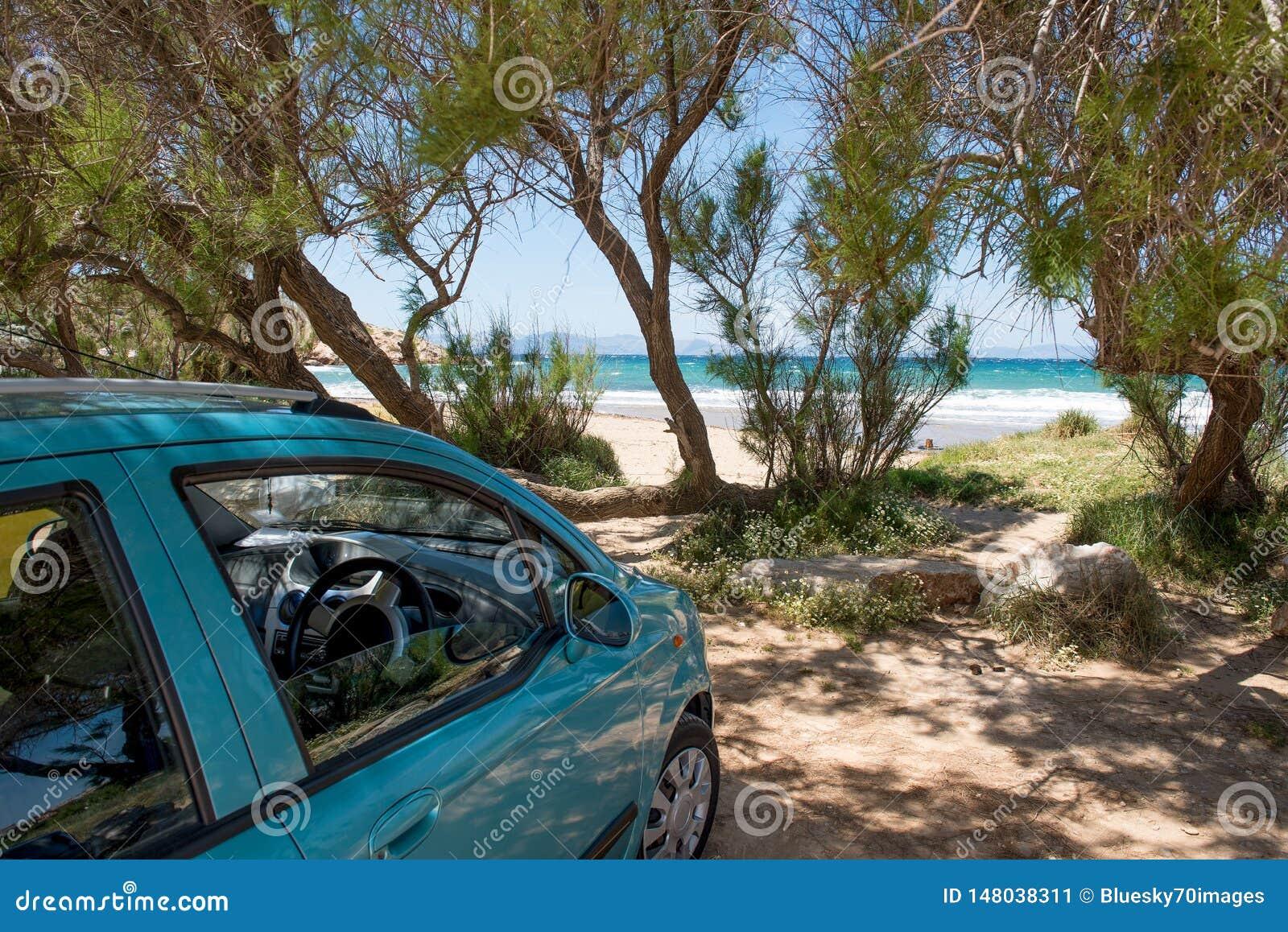 Зеленый автомобиль припаркованный на пляже песка под деревьями