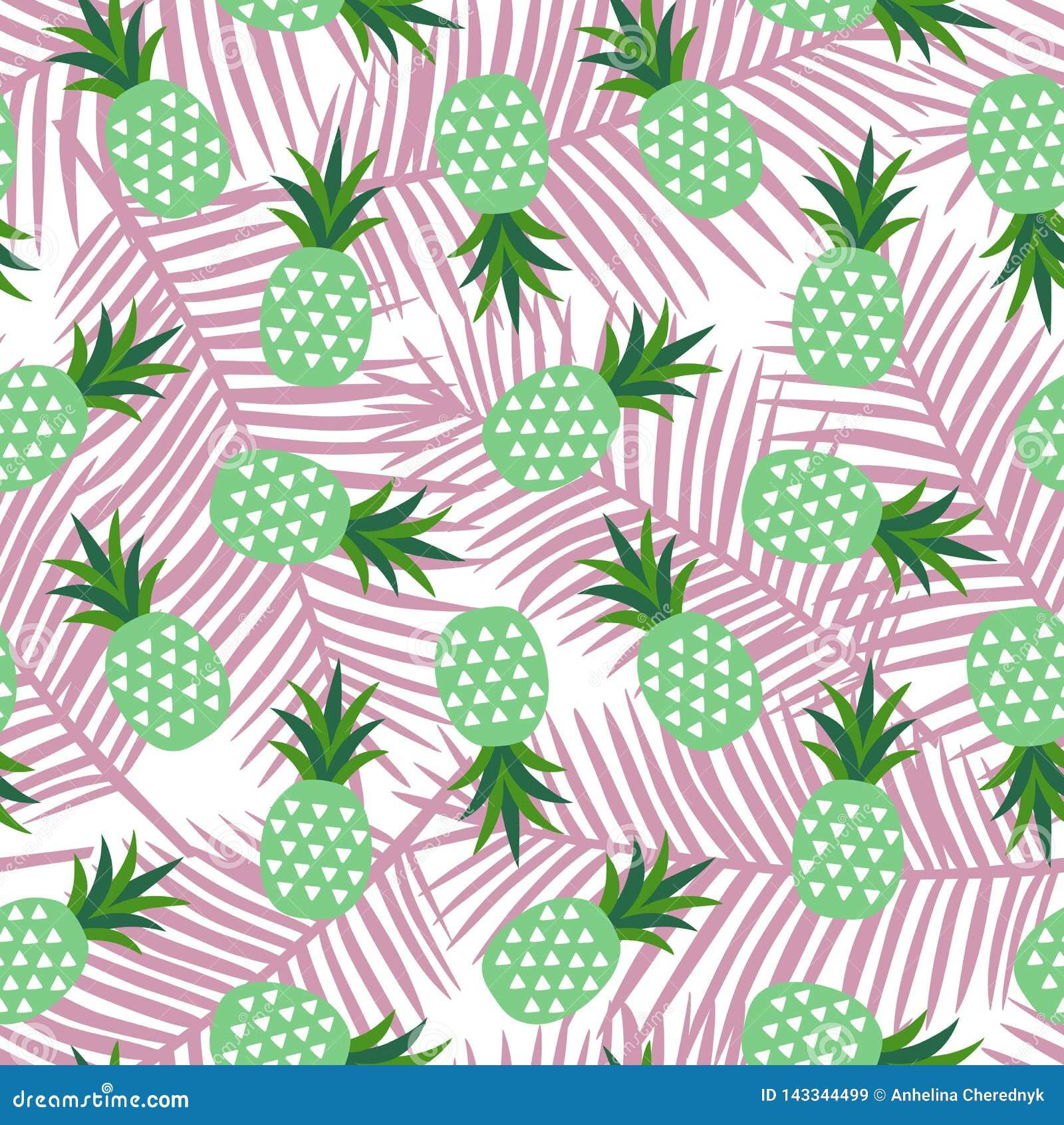 Зеленый ананас с лета плода треугольников картиной Гавайских островов геометрического тропической экзотической сладкой на светлом