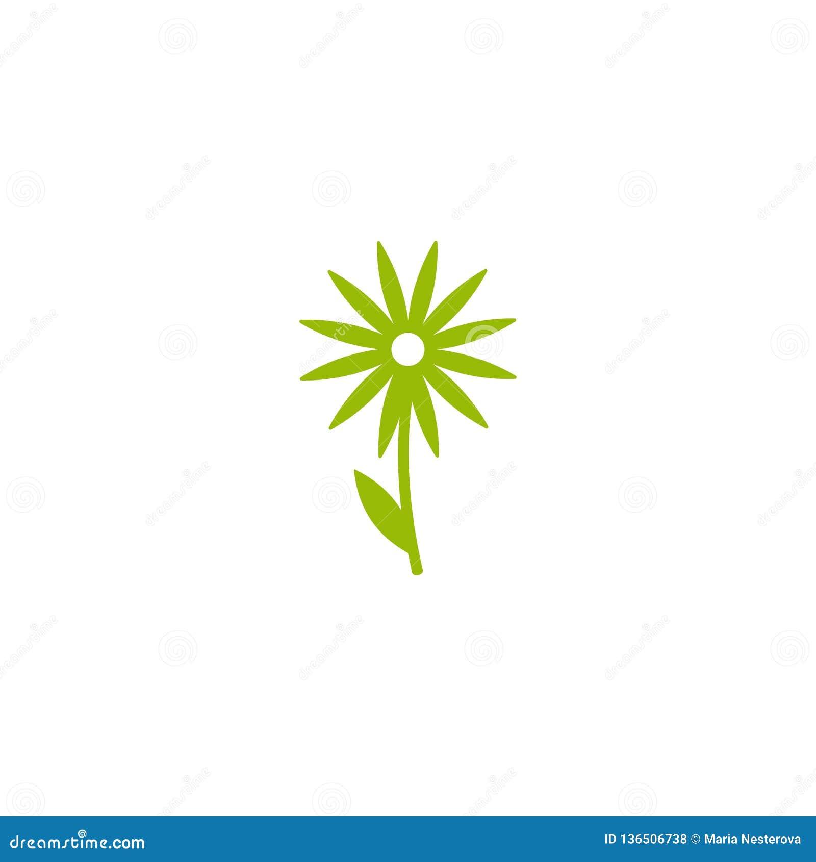 Зеленый плоский значок стоцвета с sprig и лист Изолировано на белизне вектор