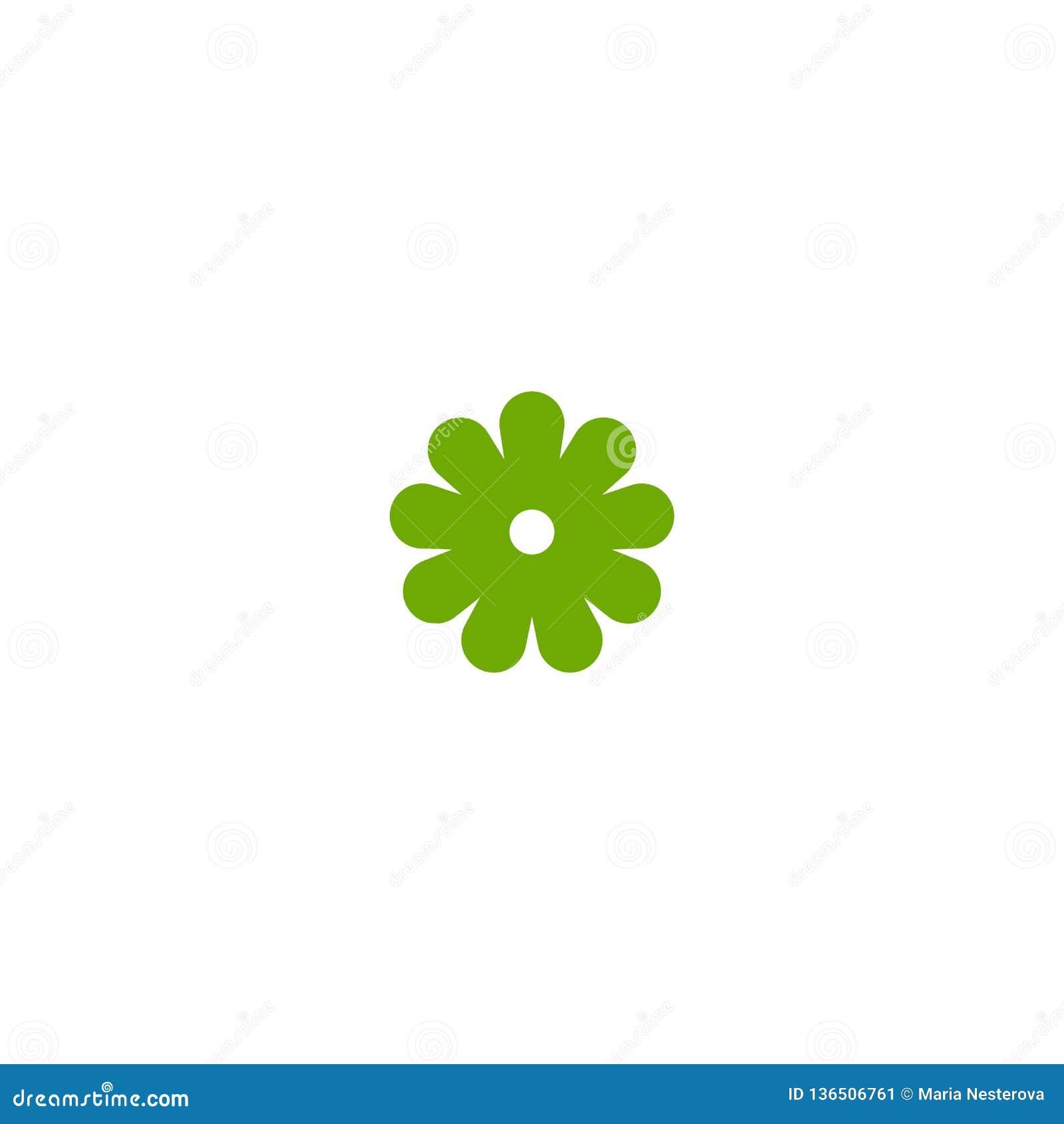 Зеленый плоский значок цветка стоцвета Изолировано на белизне также вектор иллюстрации притяжки corel