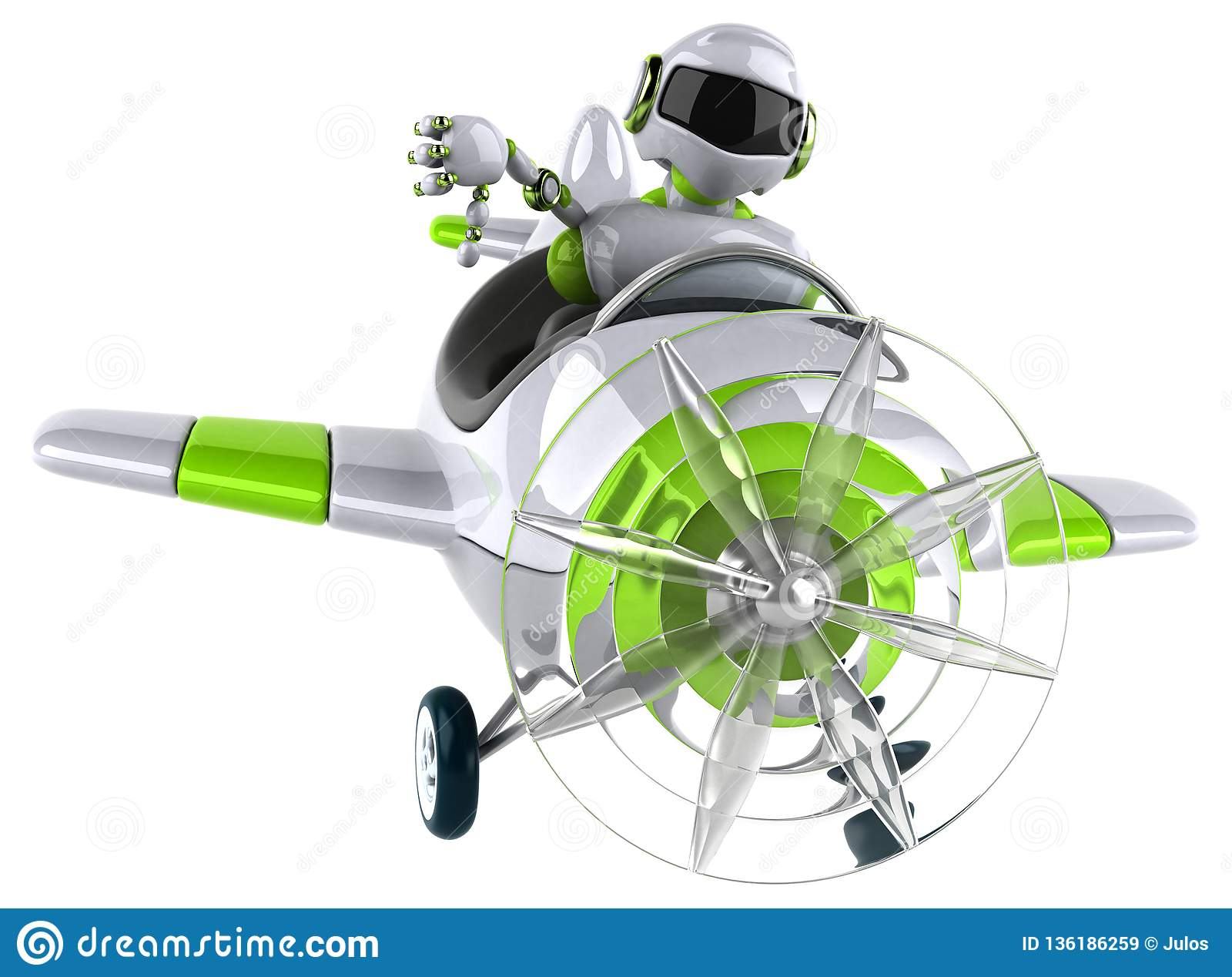Зеленый робот - иллюстрация 3D