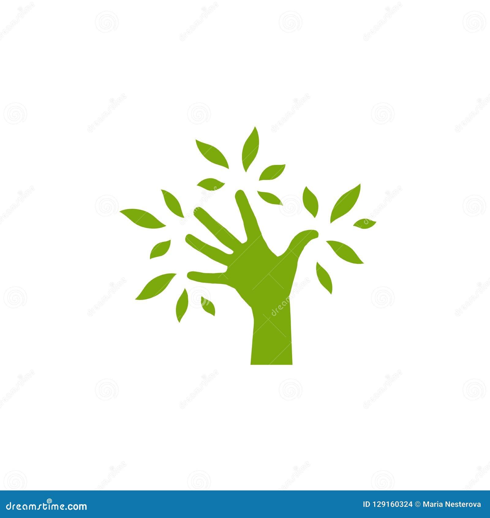 Зеленый силуэт руки с листьями символ экологичности с деревом руки Сохраньте изолированный логотип природы на белизне