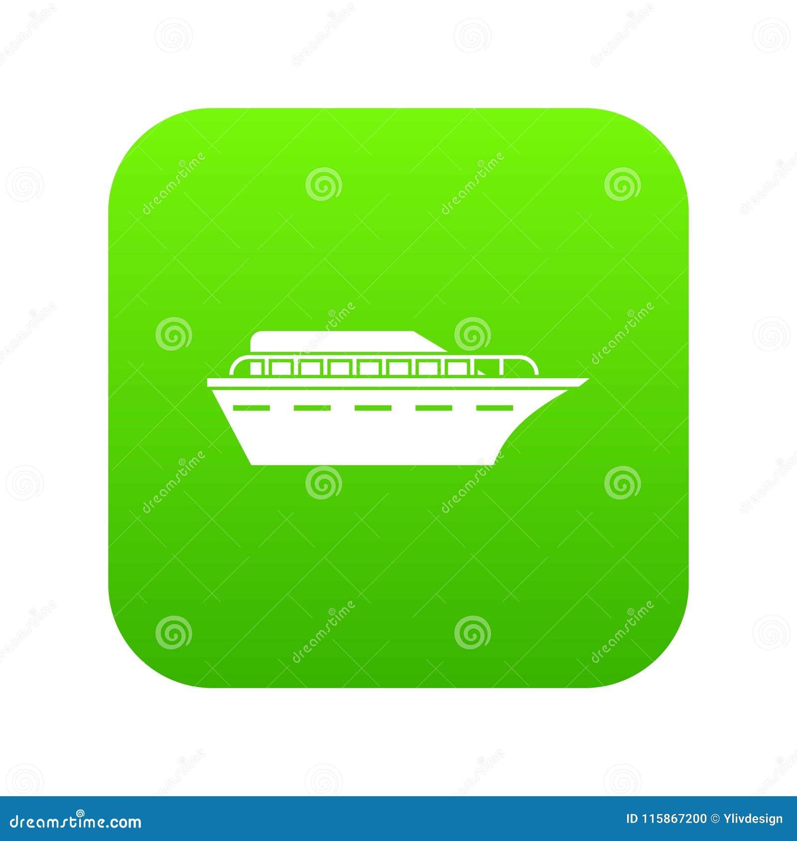 Зеленый цвет значка Powerboat цифровой