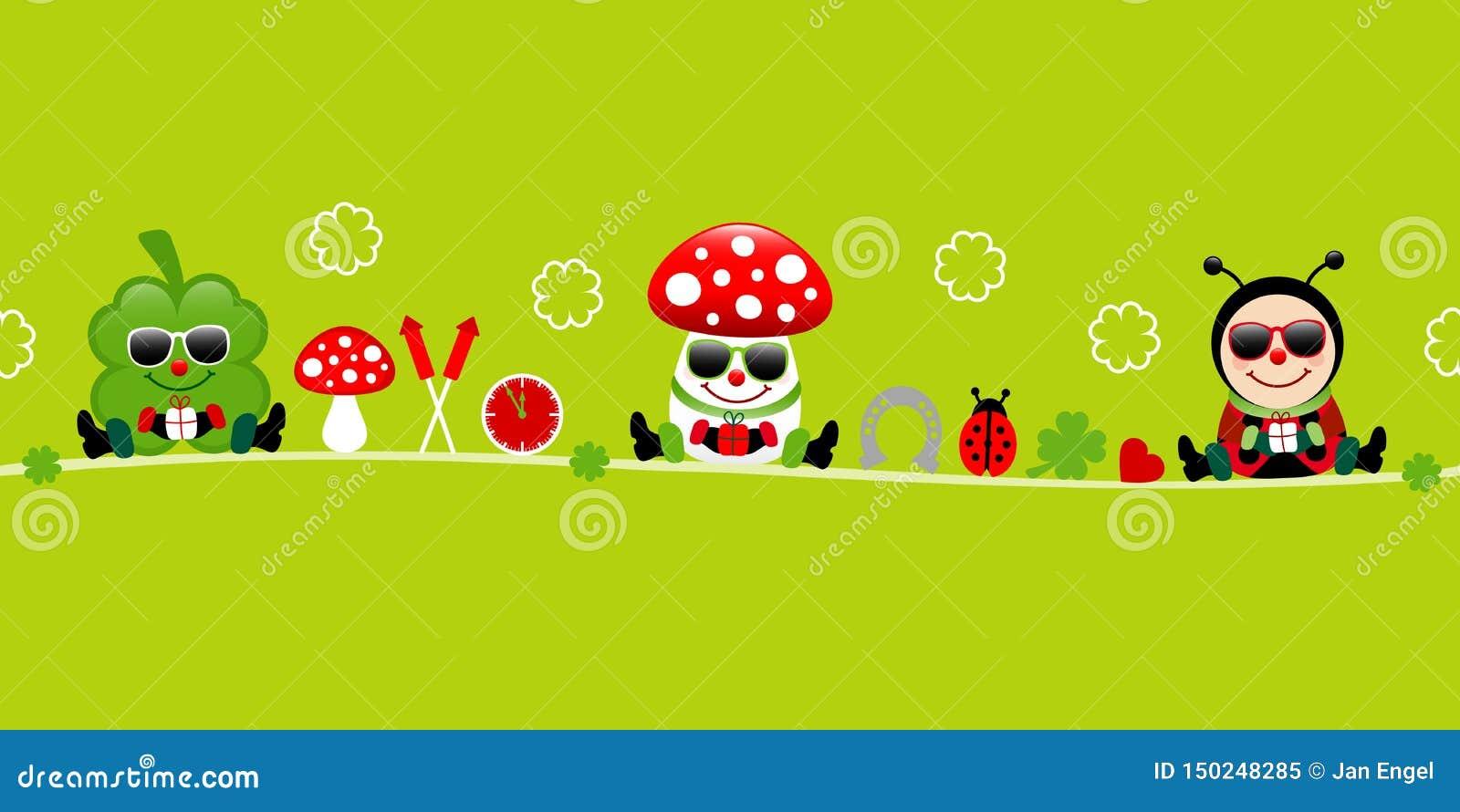 Зеленый цвет значков солнечных очков пластинчатого гриба и Ladybug мухы Cloverleaf знамени
