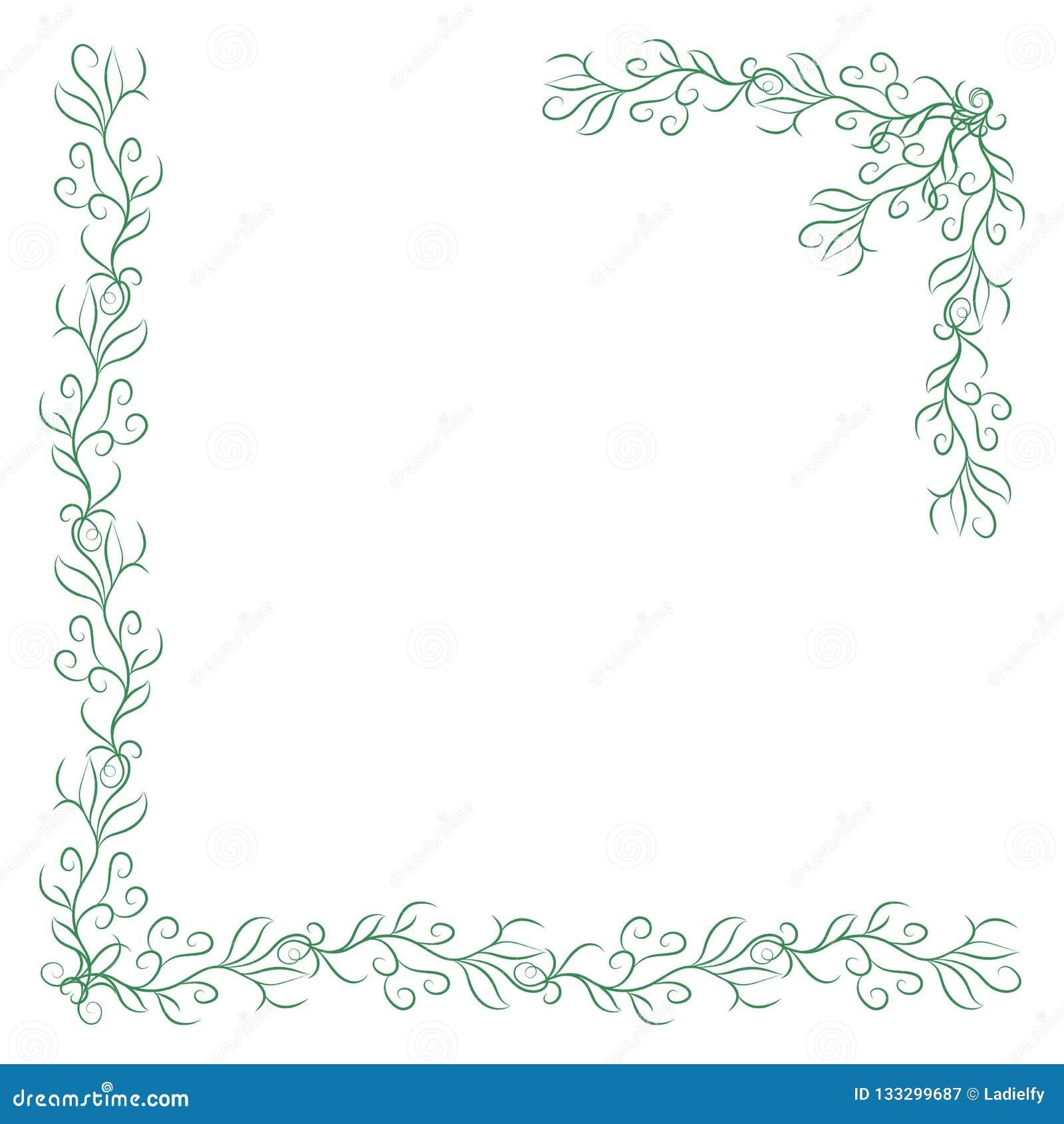 2 зеленых винтажных угла на белой предпосылке Граница элегантной руки вычерченная флористическая