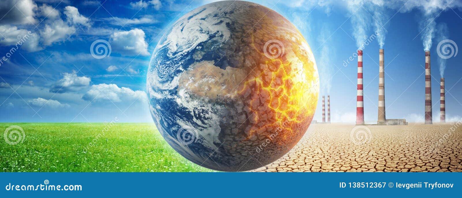 Земля на предпосылке травы и облаков против загубленной земли на предпосылке мертвой пустыни с куря каминами