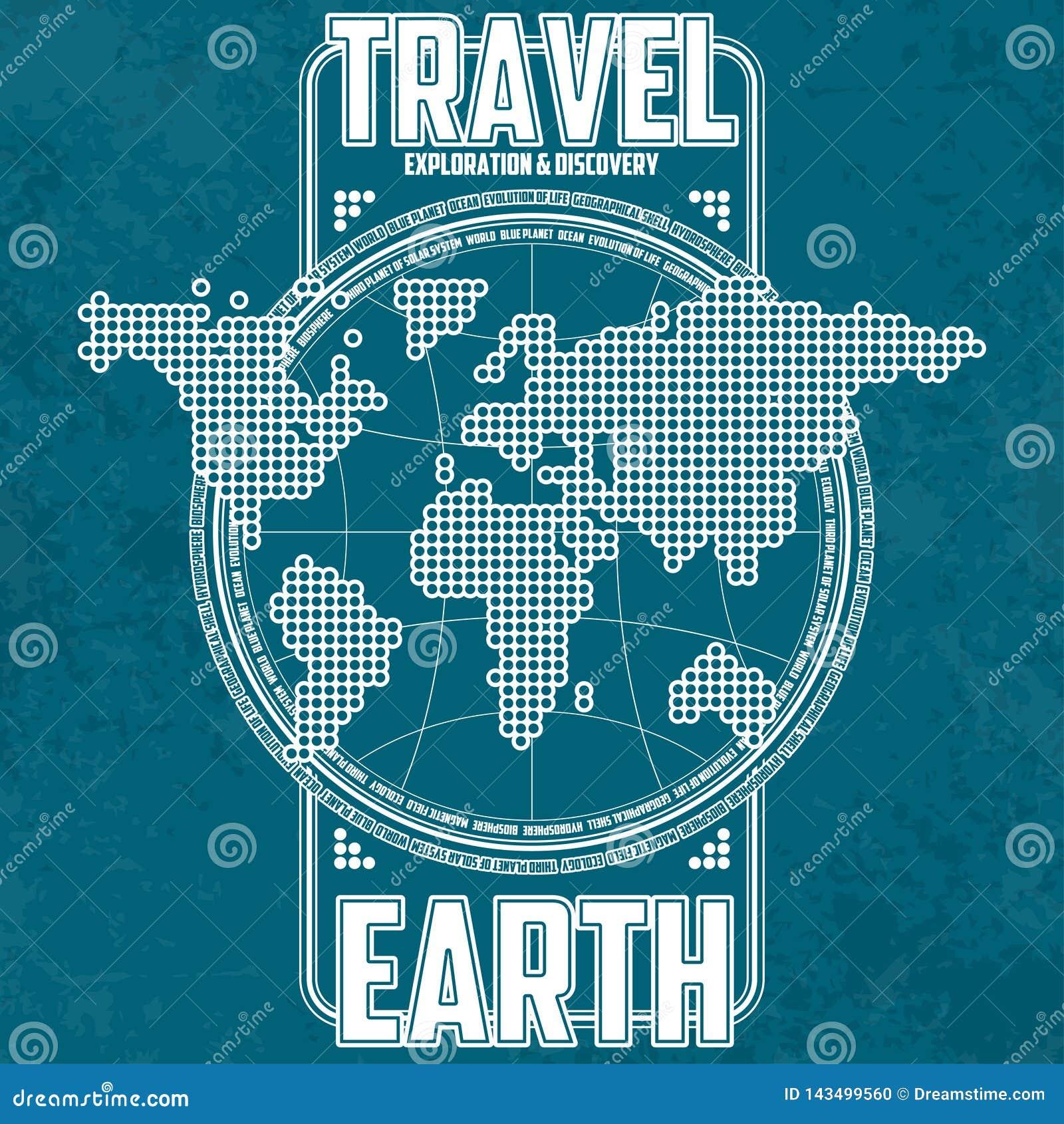 Земля перемещения, исследования и открытия Стилизованные континенты на предпосылке глобуса