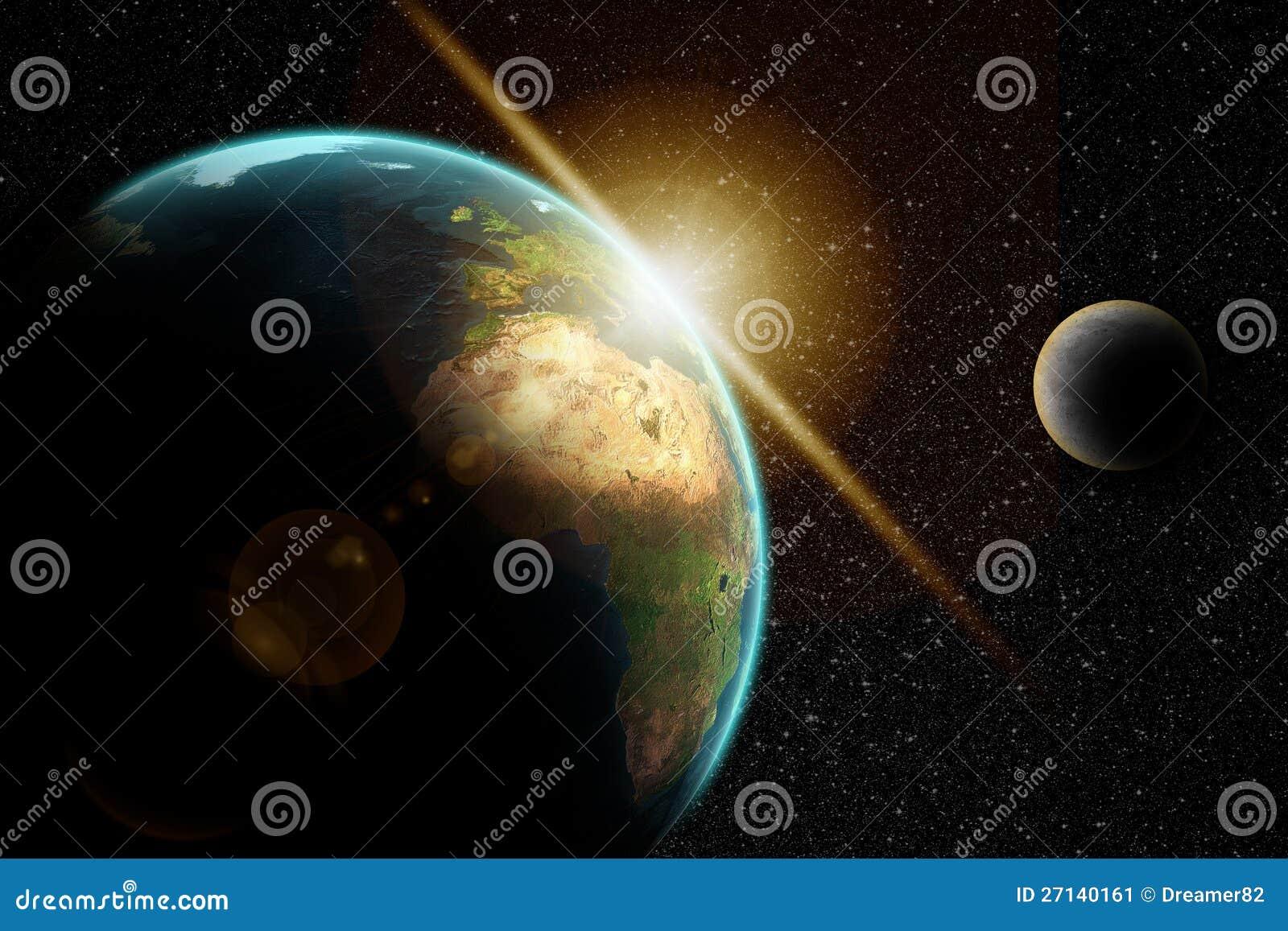 Земля планеты в космическом пространстве