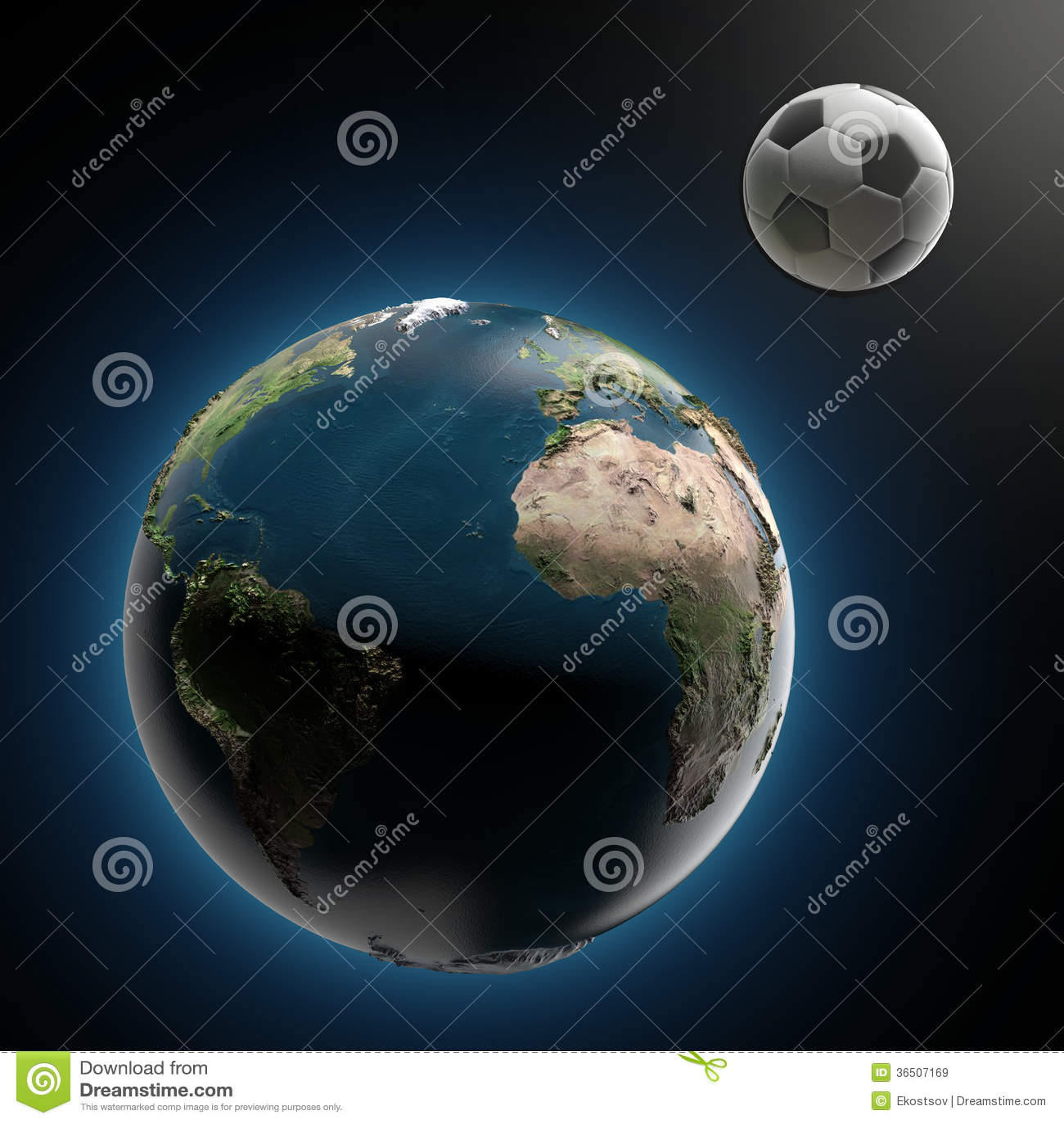 Земля и футбольный мяч (элементы поставленные NASA)
