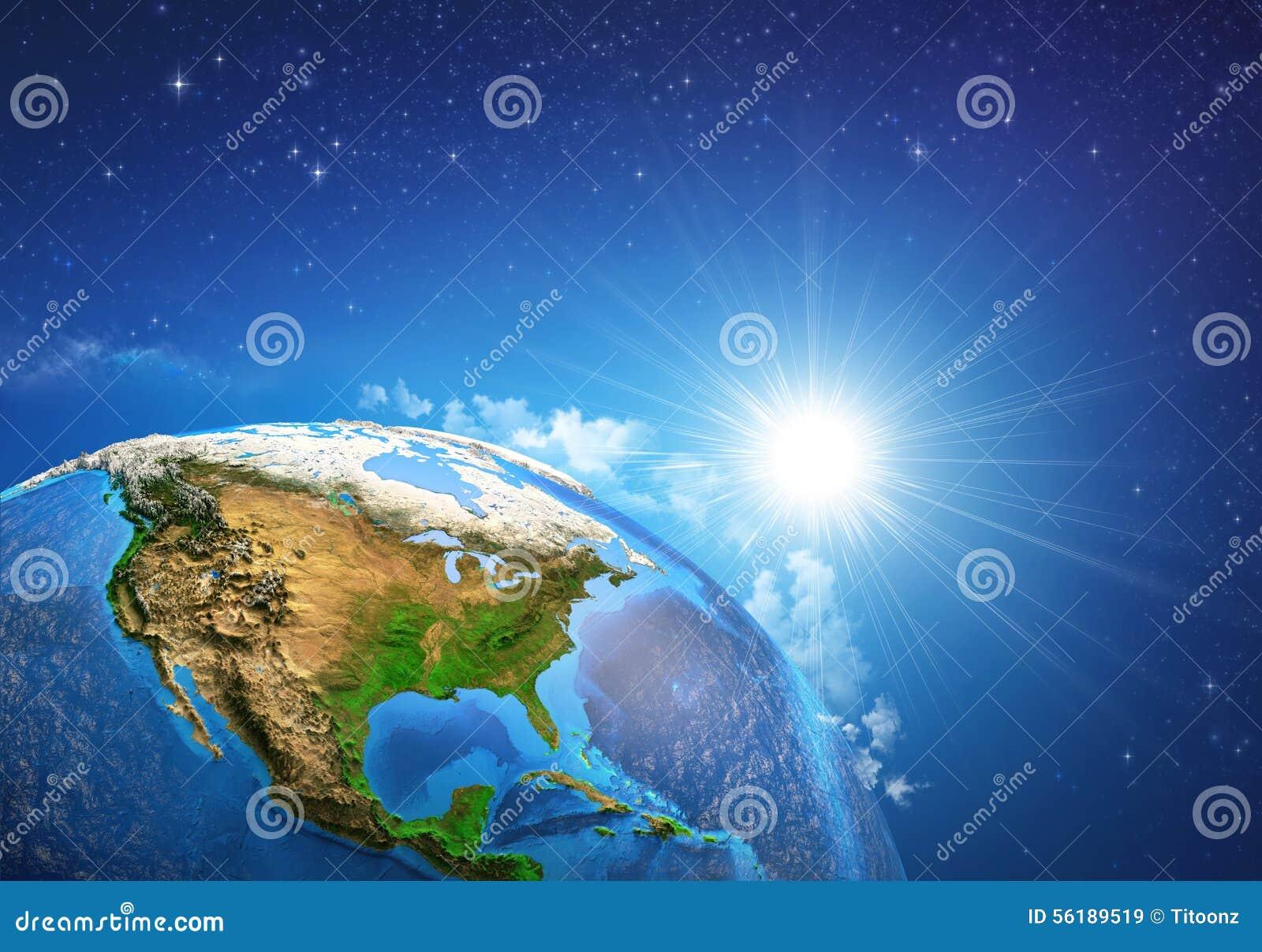 земля над восходом солнца