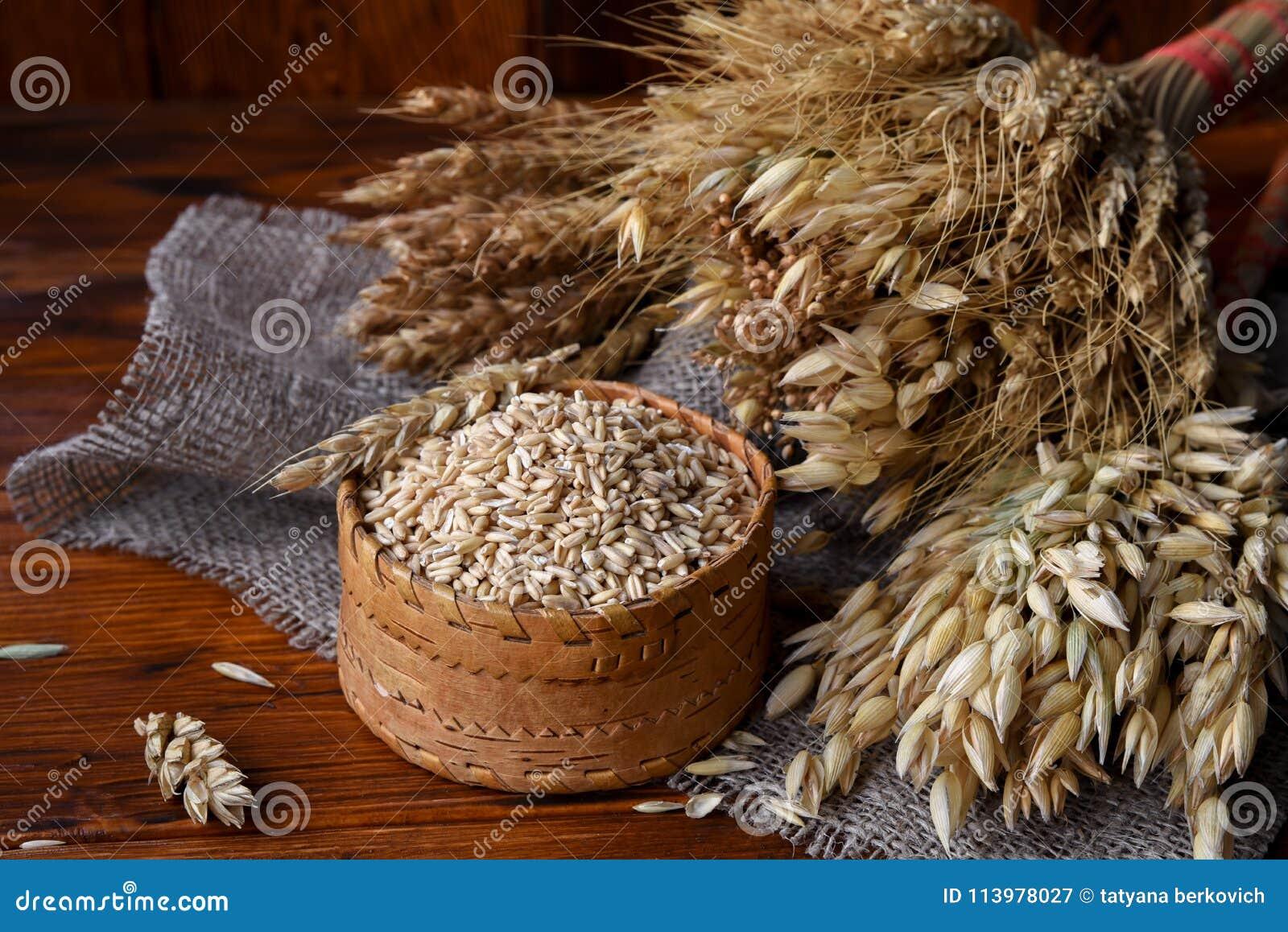 Зерна всех овсов в плетеной коробке и ушах различных хлопьев