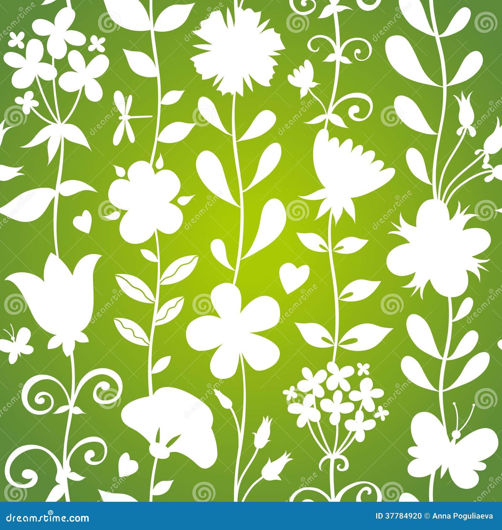 Зеленая безшовная картина с цветками, бабочками и dragonflies.