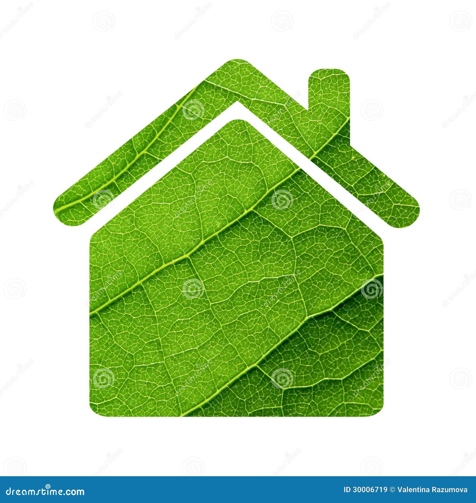 Зеленая икона дома листьев.