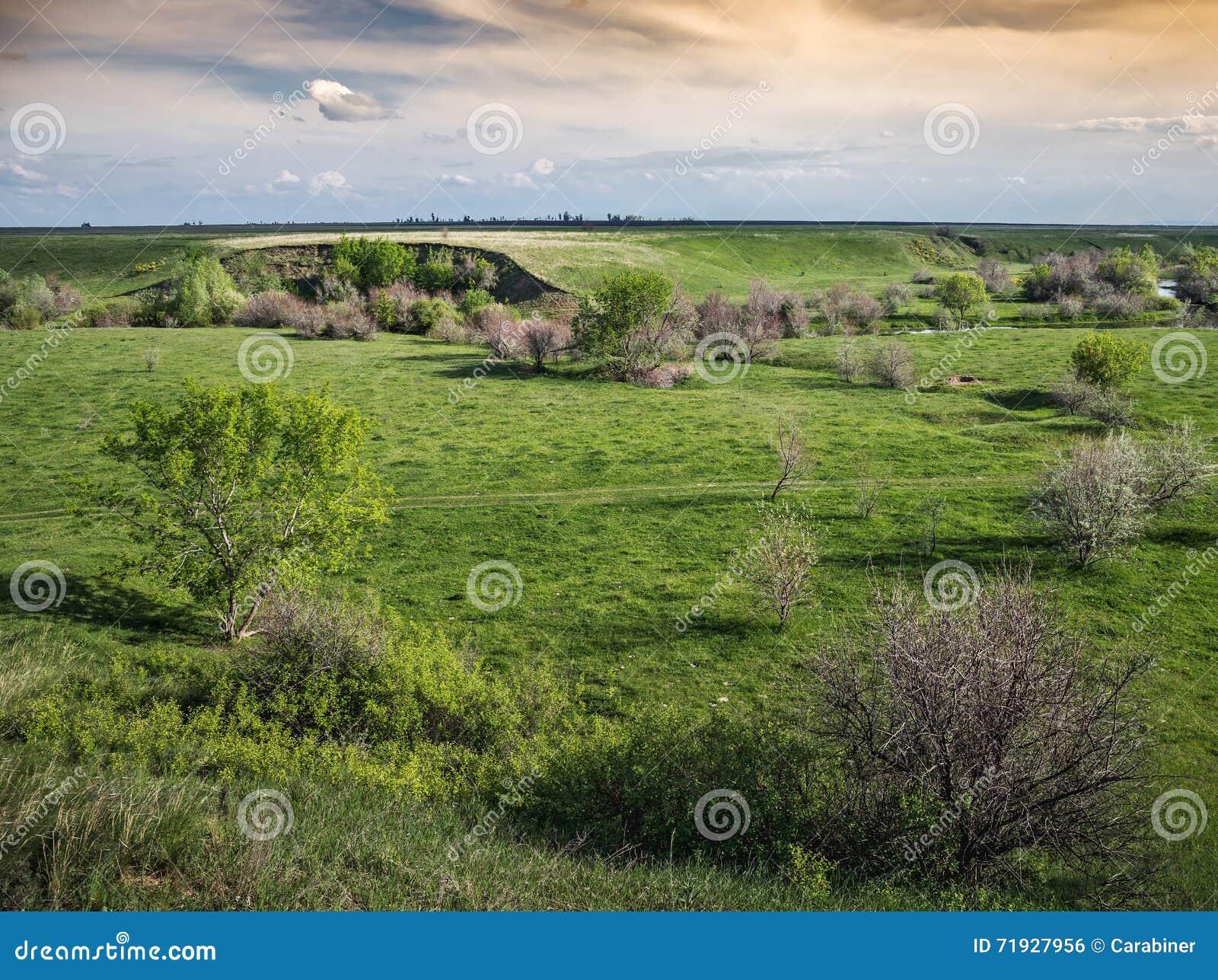 Зеленая долина с промоиной