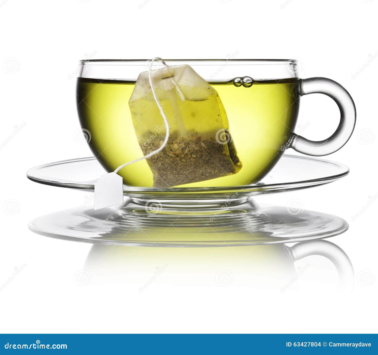 Зеленая травяная чашка пакетика чая