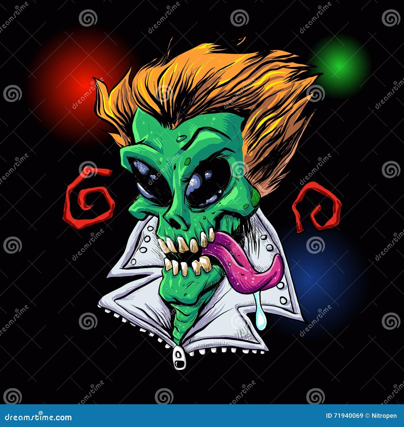 Зеленое зомби чужеземца в партии