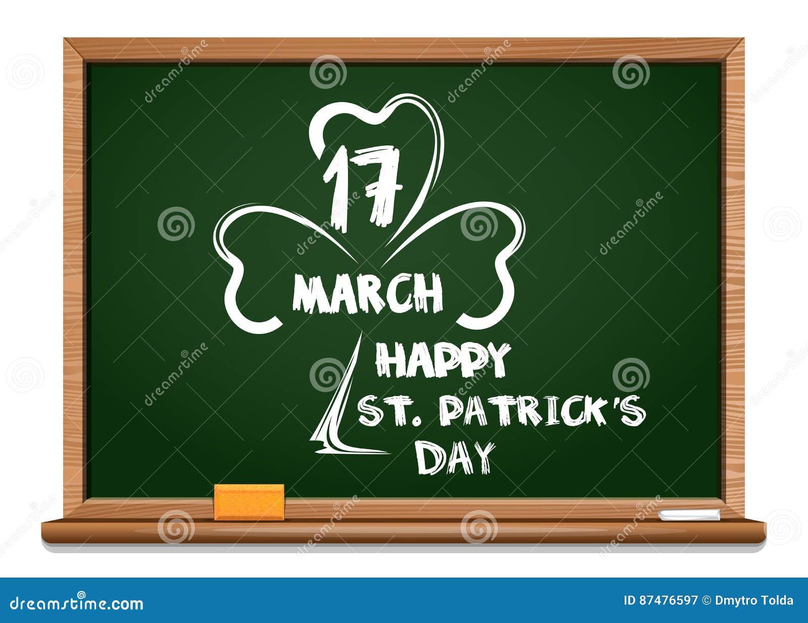 Зеленое классн классный с изображением клевера, и поздравлений на день St Patricks 17-ое марта