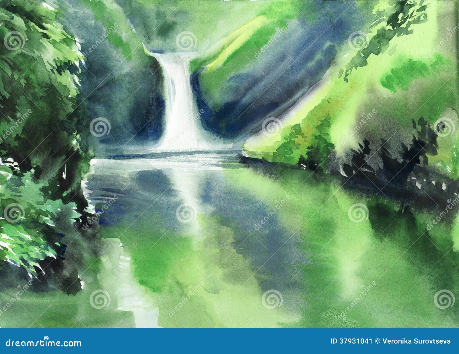 Зеленые горы и водопад