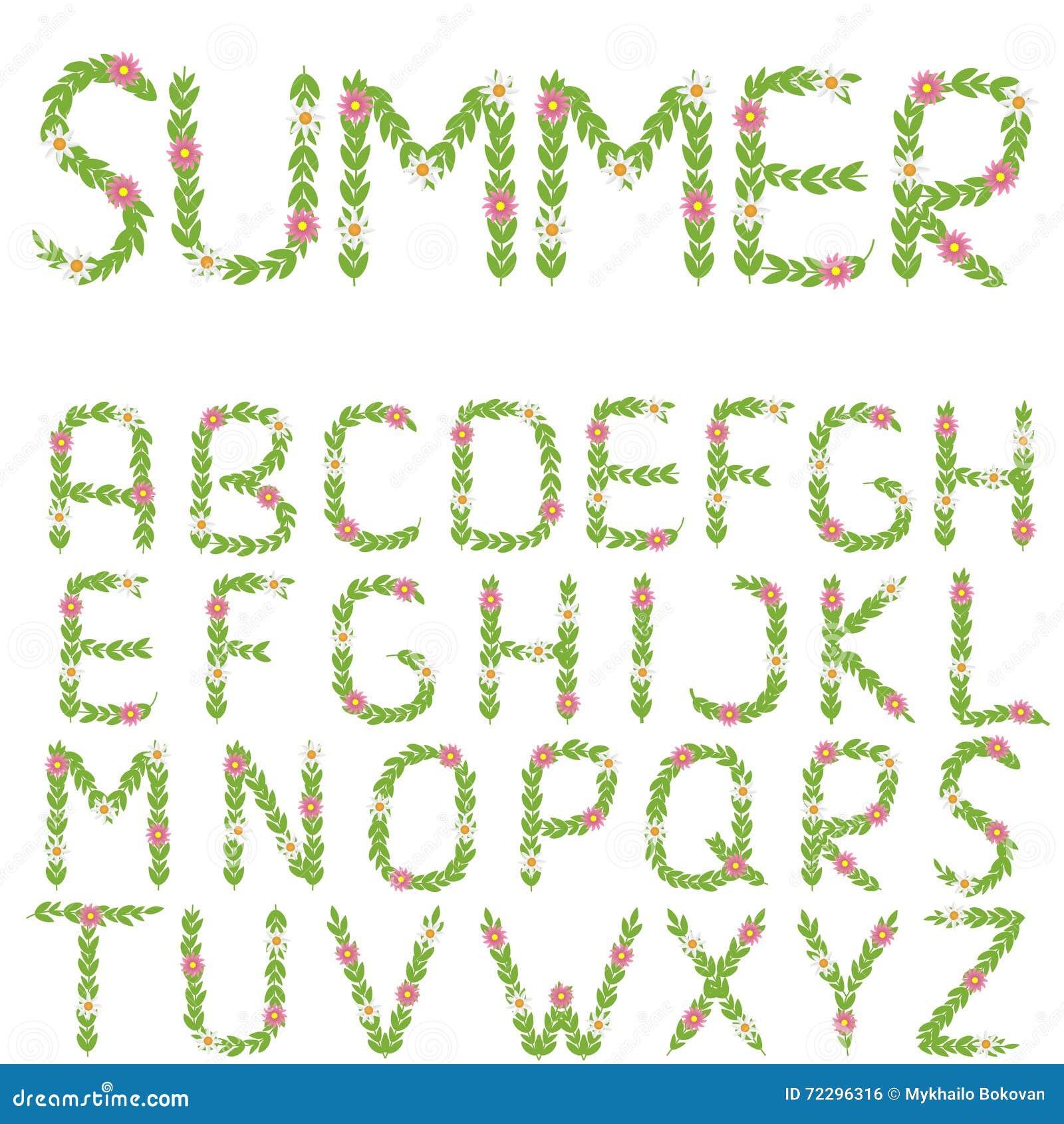 Download Зеленые письма лета иллюстрация вектора. иллюстрации насчитывающей письмо - 72296316