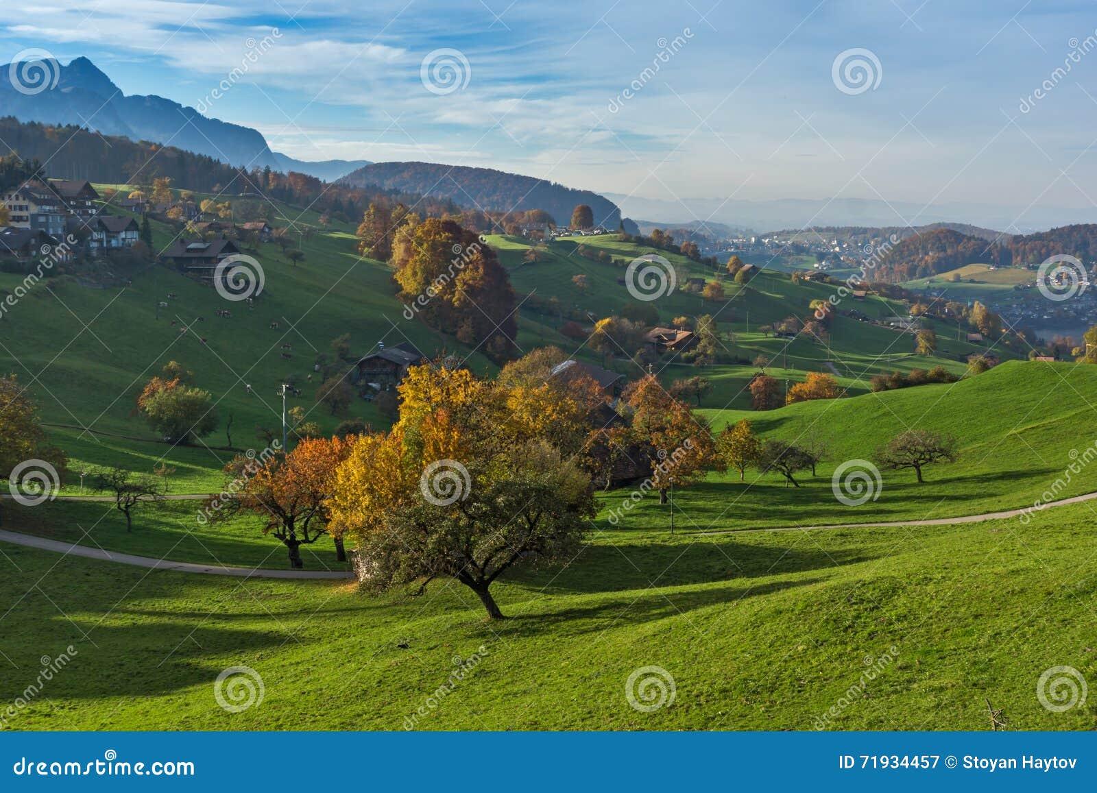 Зеленые луга и типичная деревня Швейцарии около городка Интерлакена
