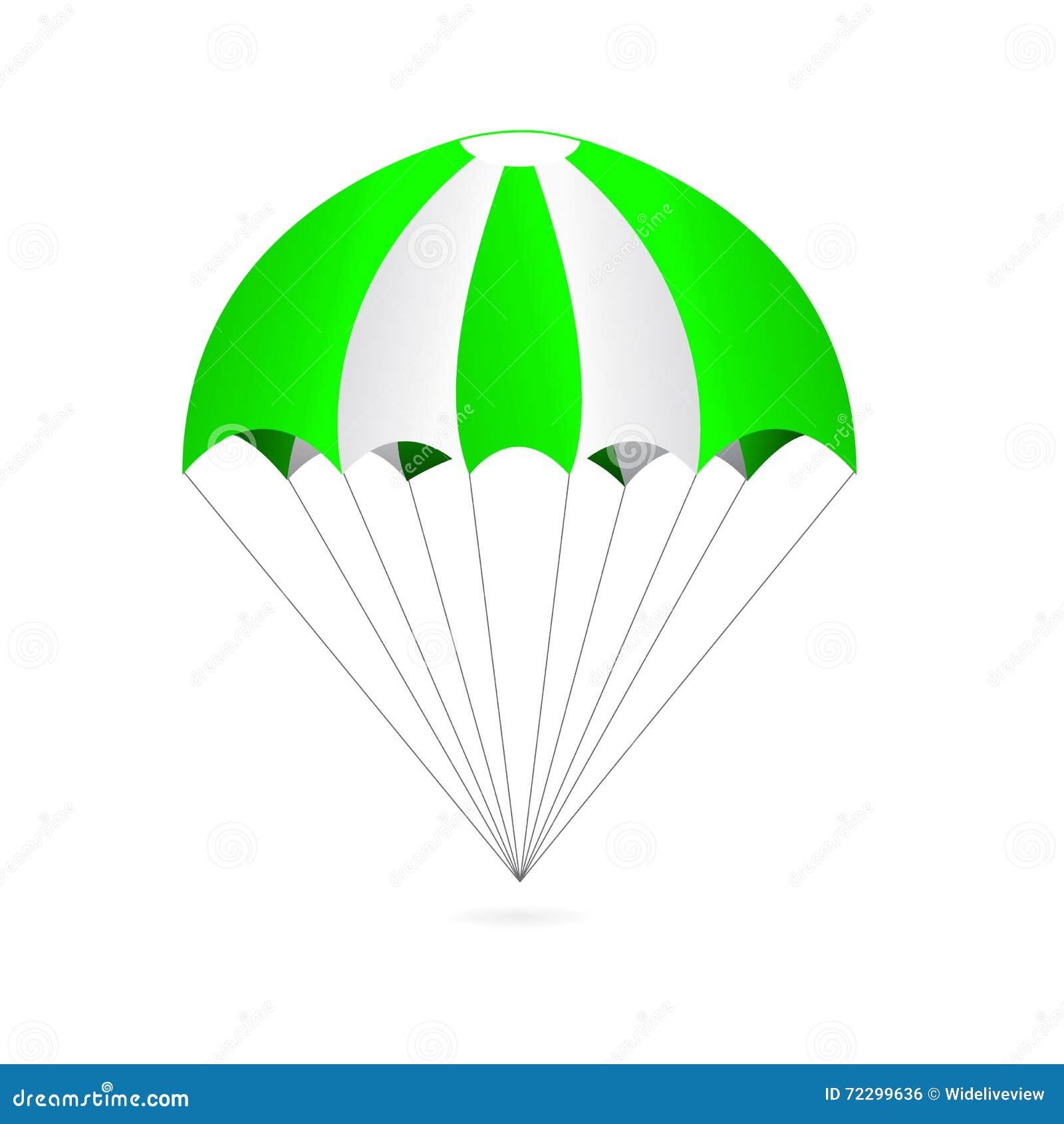 Download Зеленый и белый парашют изолированный на белой предпосылке Иллюстрация штока - иллюстрации насчитывающей поставьте, переход: 72299636