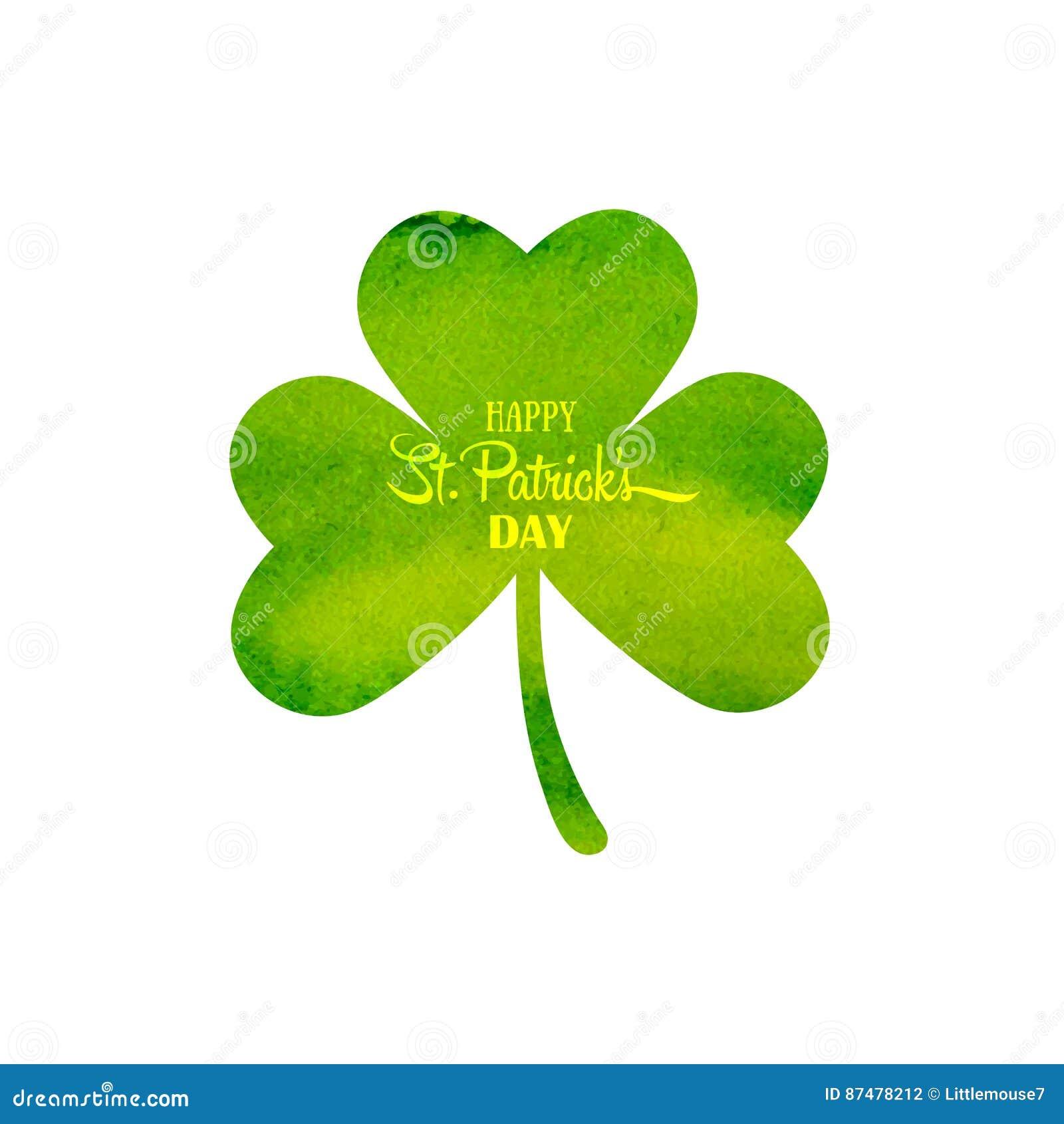 Зеленый клевер trifolium акварели Ирландский день ` s St. Patrick праздника