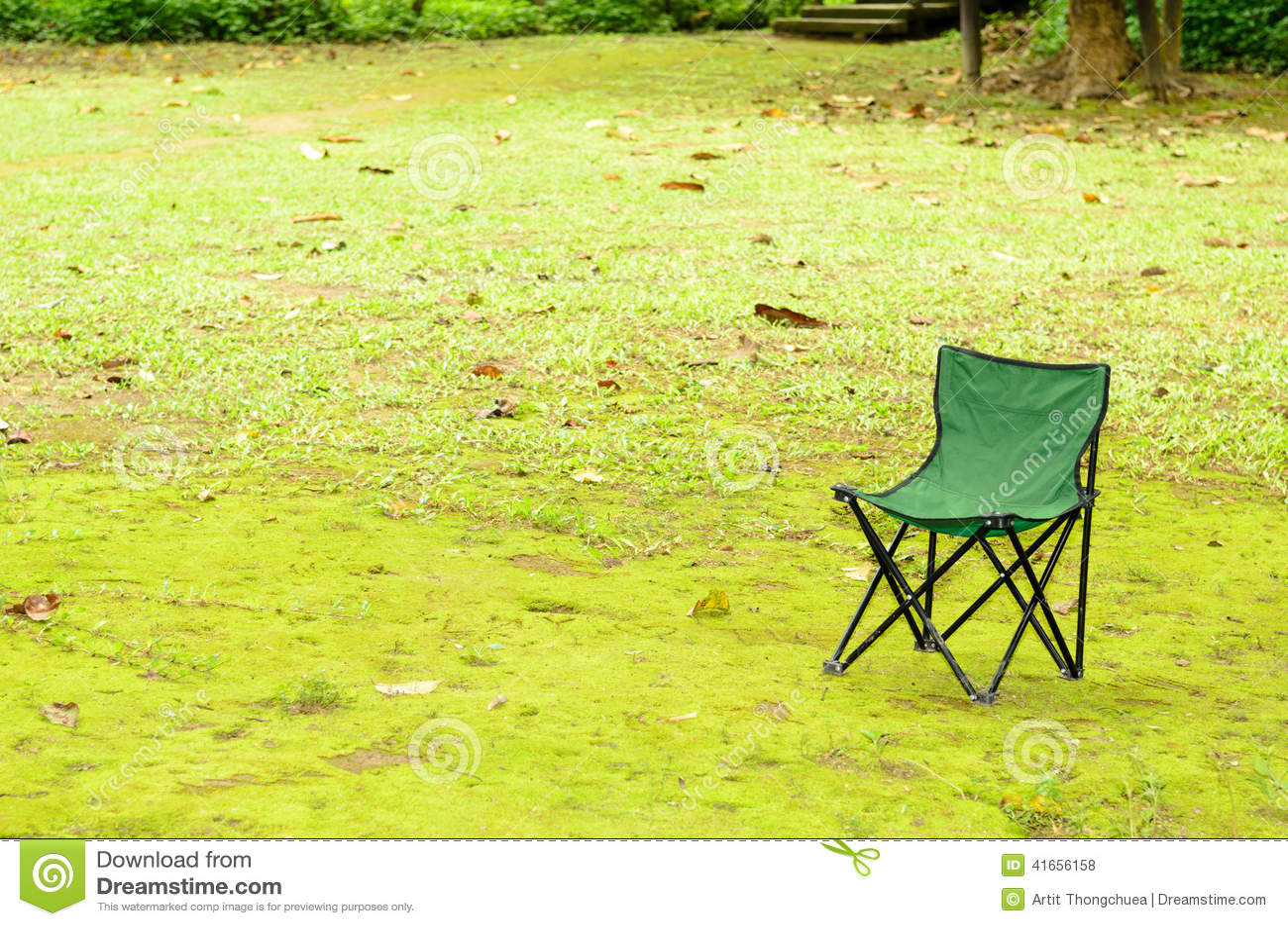 Зеленый стул на зеленой траве