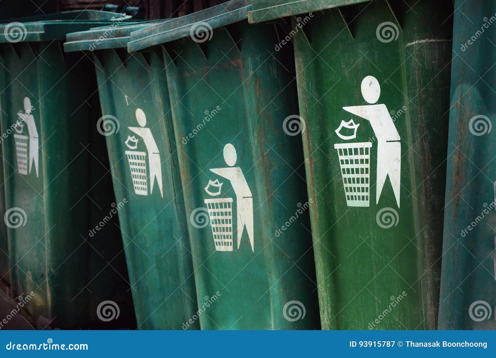 Зеленый ящик Пожалуйста засоряйте в ящики символ