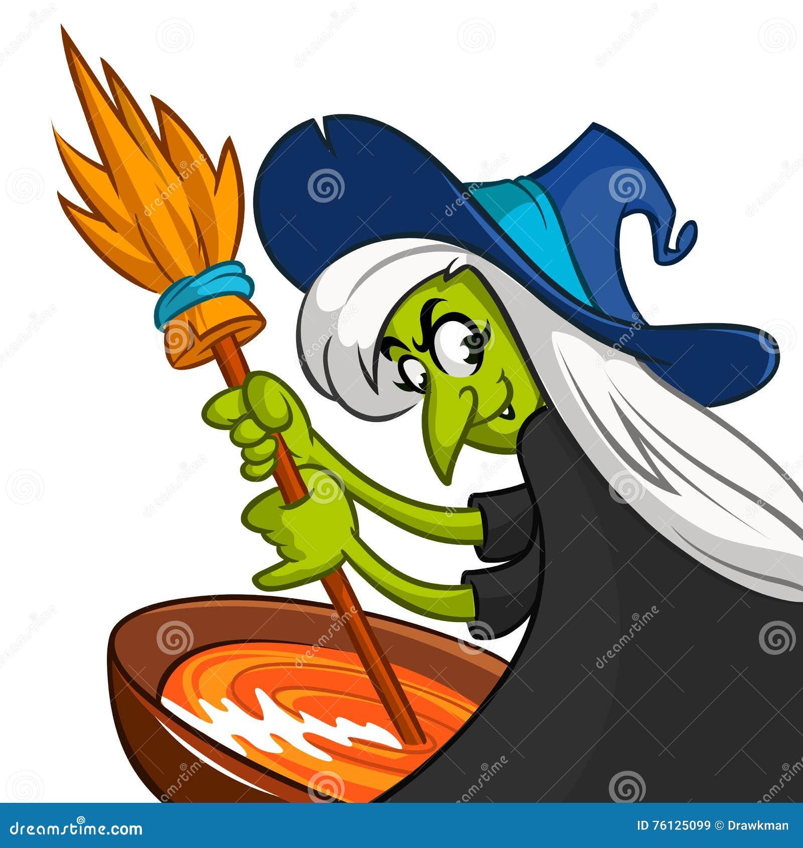зелье halloween подготовляя уродскую ведьму Vector иллюстрация ведьмы шаржа шевеля ее пугающее brew