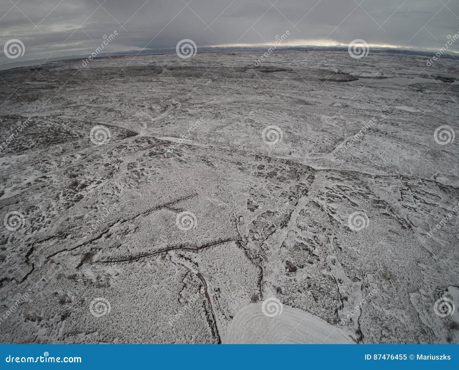 Зима вида с воздуха в Норвегии