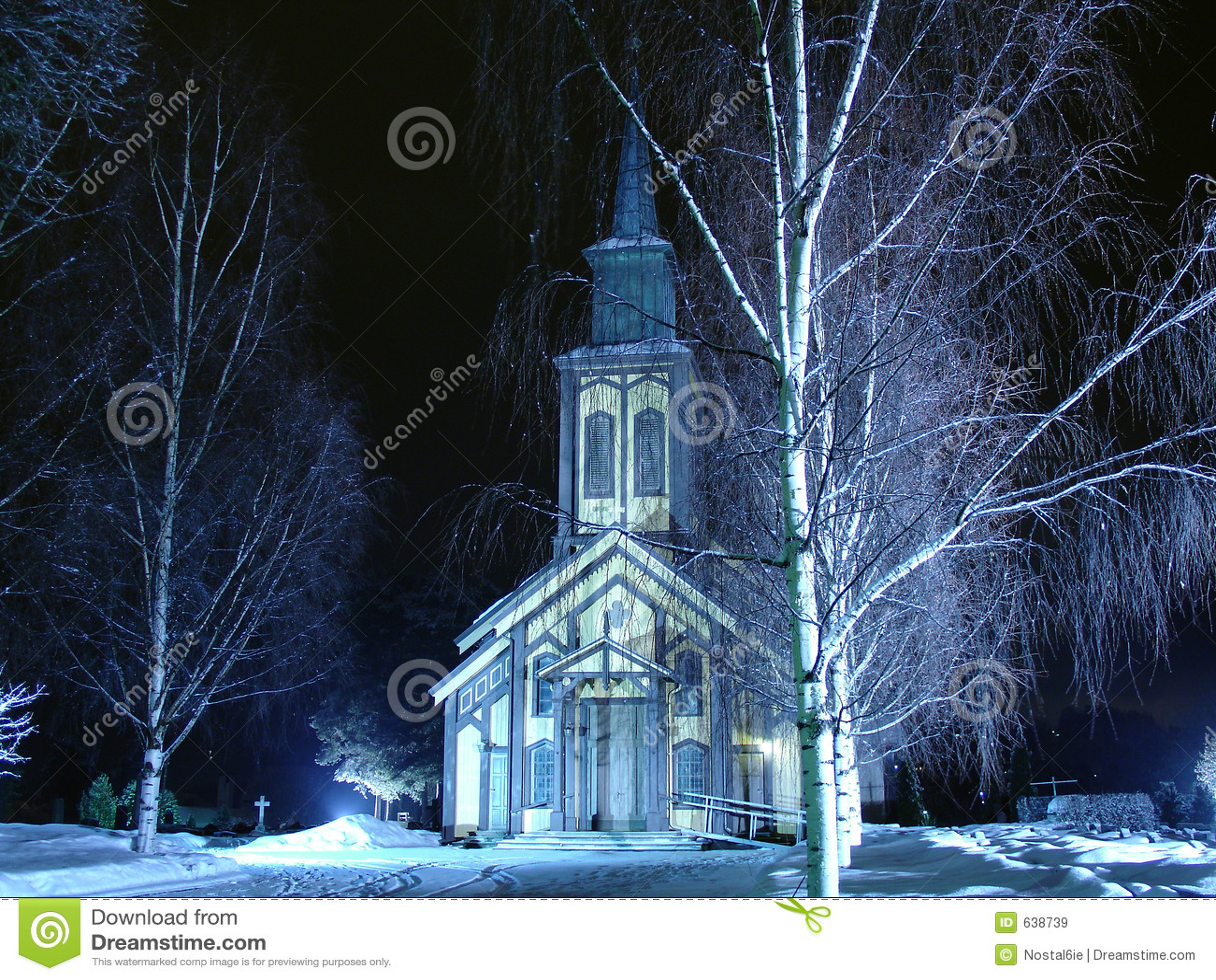 Download зима ночи церков стоковое изображение. изображение насчитывающей норвегия - 638739