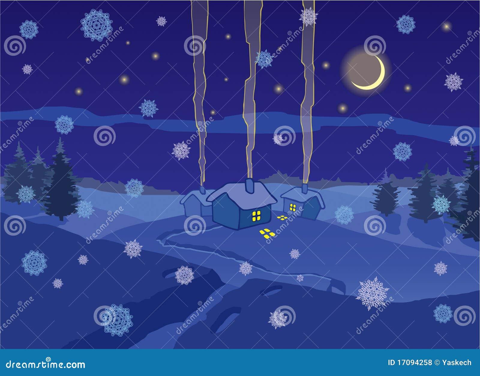 зима села ночи